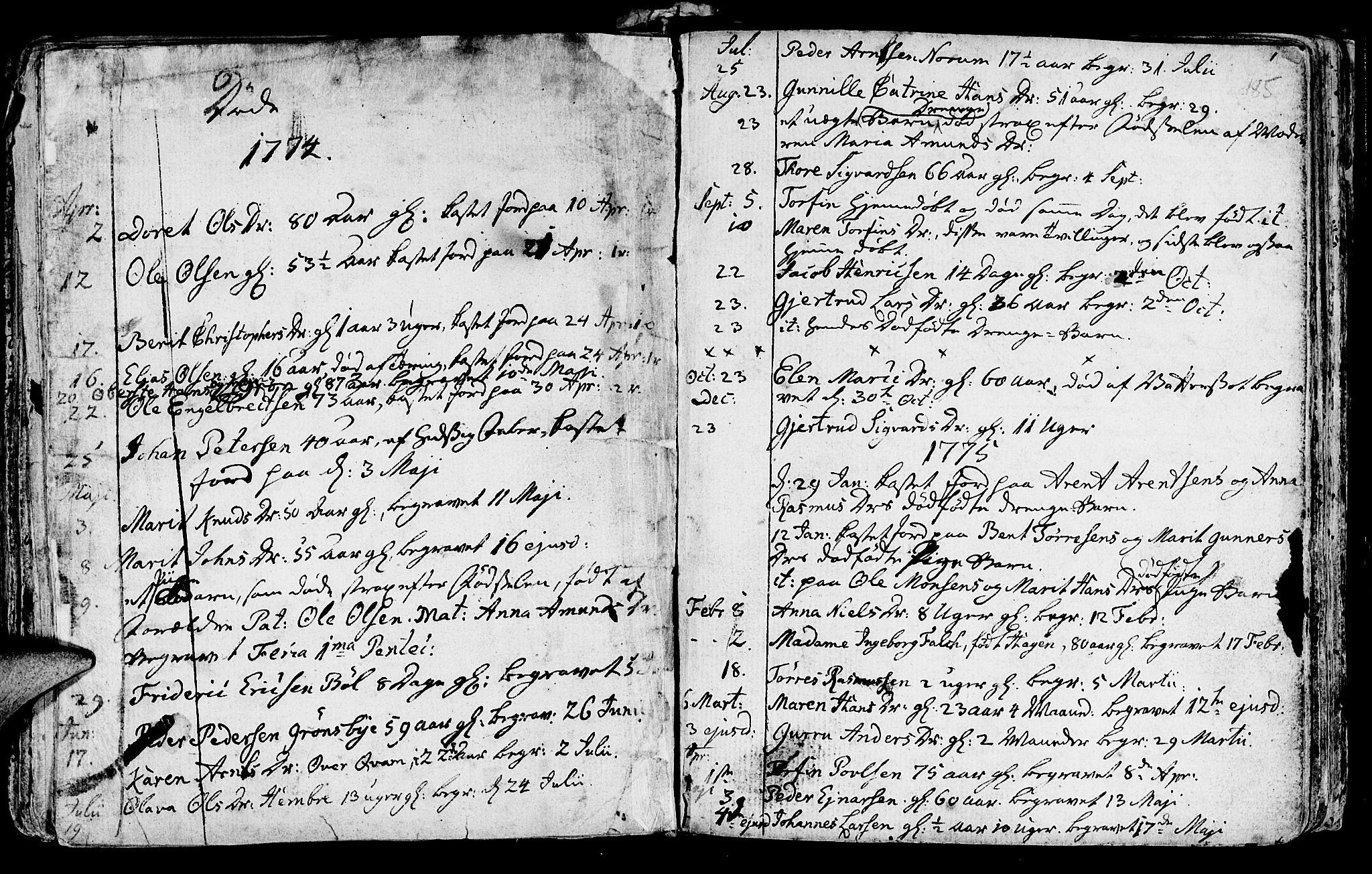 SAT, Ministerialprotokoller, klokkerbøker og fødselsregistre - Nord-Trøndelag, 730/L0273: Ministerialbok nr. 730A02, 1762-1802, s. 185