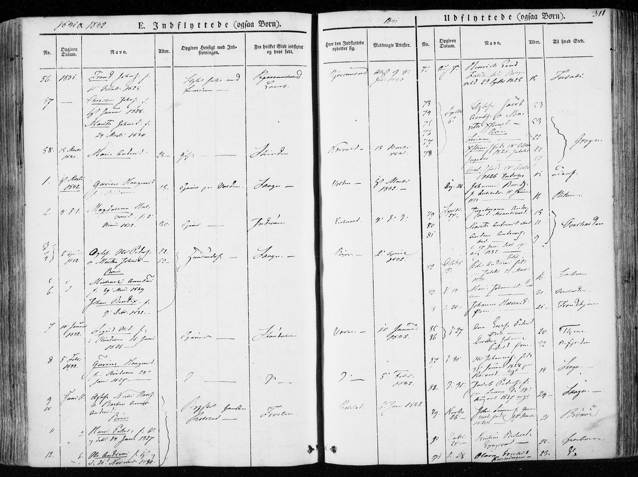 SAT, Ministerialprotokoller, klokkerbøker og fødselsregistre - Nord-Trøndelag, 723/L0239: Ministerialbok nr. 723A08, 1841-1851, s. 311