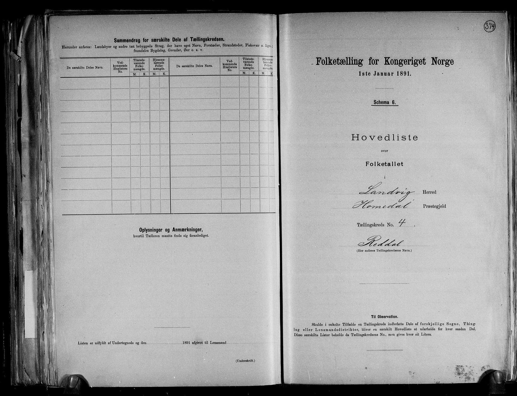 RA, Folketelling 1891 for 0924 Landvik herred, 1891, s. 13