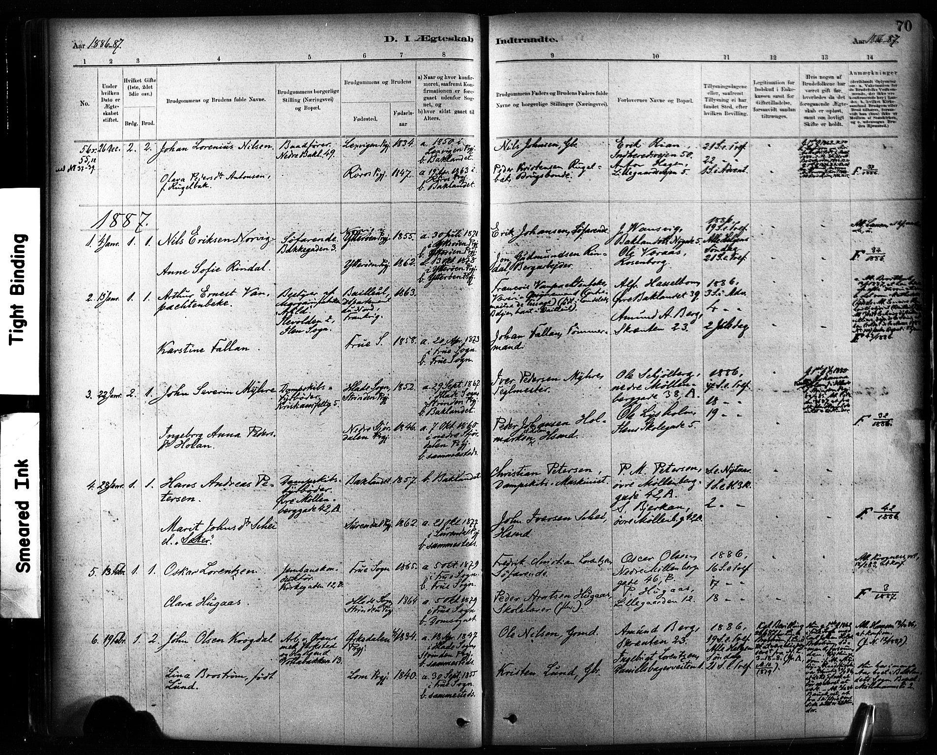 SAT, Ministerialprotokoller, klokkerbøker og fødselsregistre - Sør-Trøndelag, 604/L0189: Ministerialbok nr. 604A10, 1878-1892, s. 70