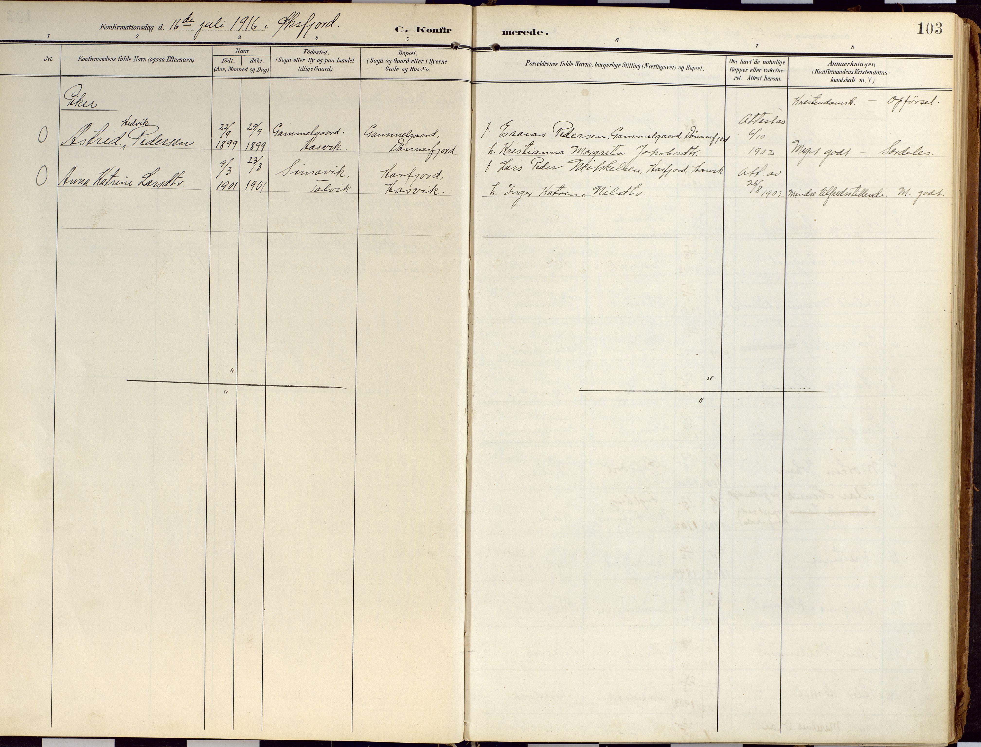 SATØ, Loppa sokneprestkontor, H/Ha/L0010kirke: Ministerialbok nr. 10, 1907-1922, s. 103