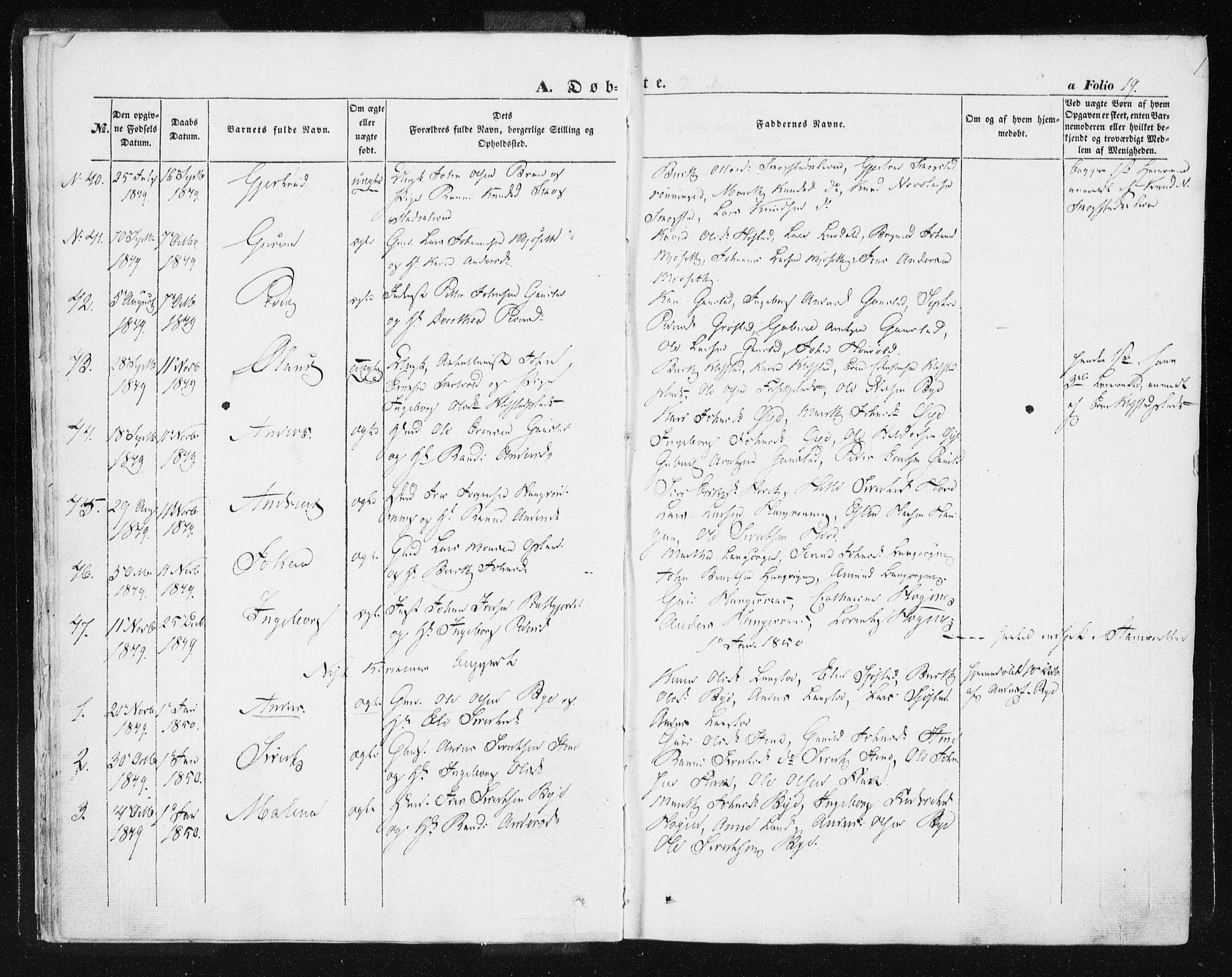SAT, Ministerialprotokoller, klokkerbøker og fødselsregistre - Sør-Trøndelag, 612/L0376: Ministerialbok nr. 612A08, 1846-1859, s. 19
