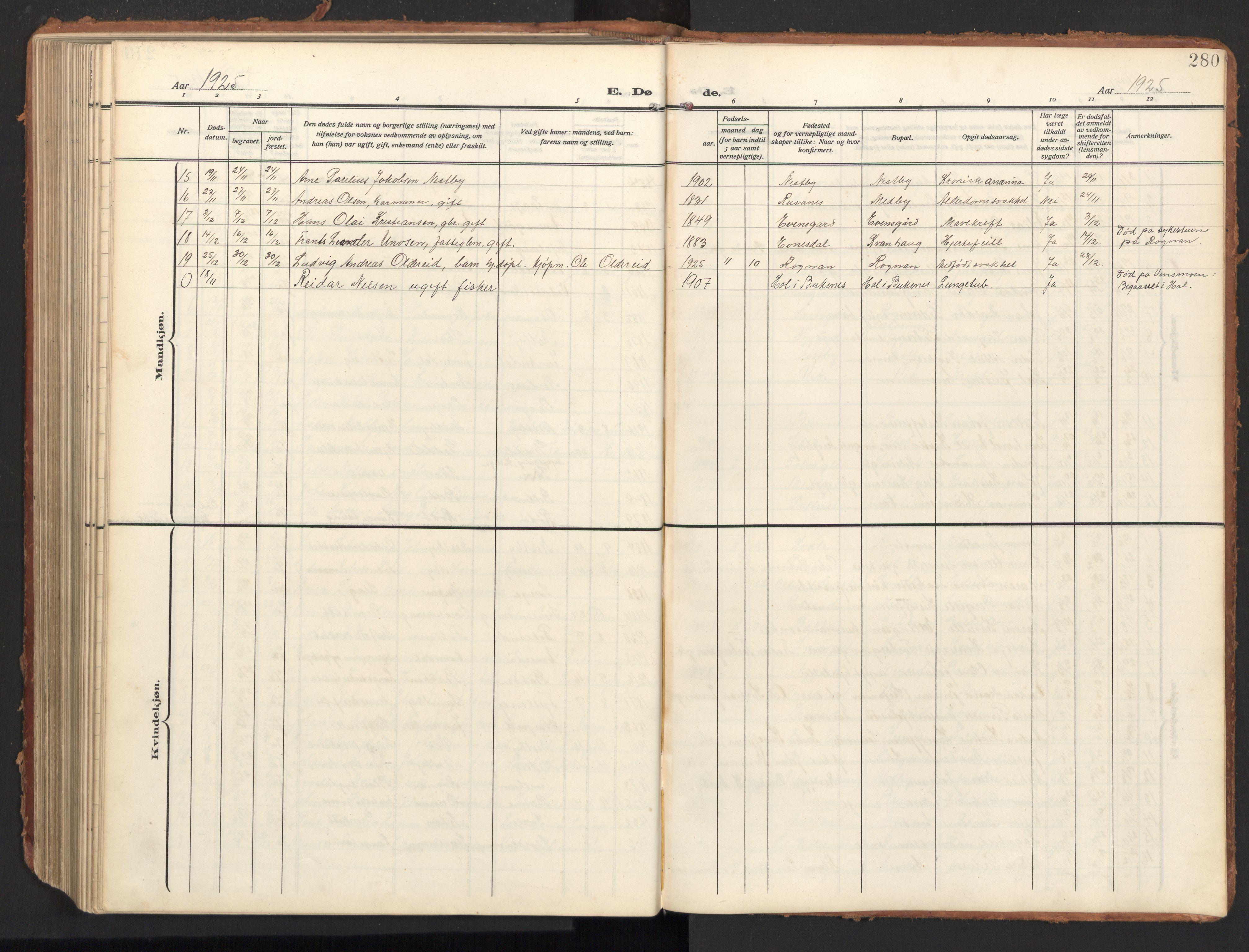 SAT, Ministerialprotokoller, klokkerbøker og fødselsregistre - Nordland, 847/L0683: Klokkerbok nr. 847C11, 1908-1929, s. 280