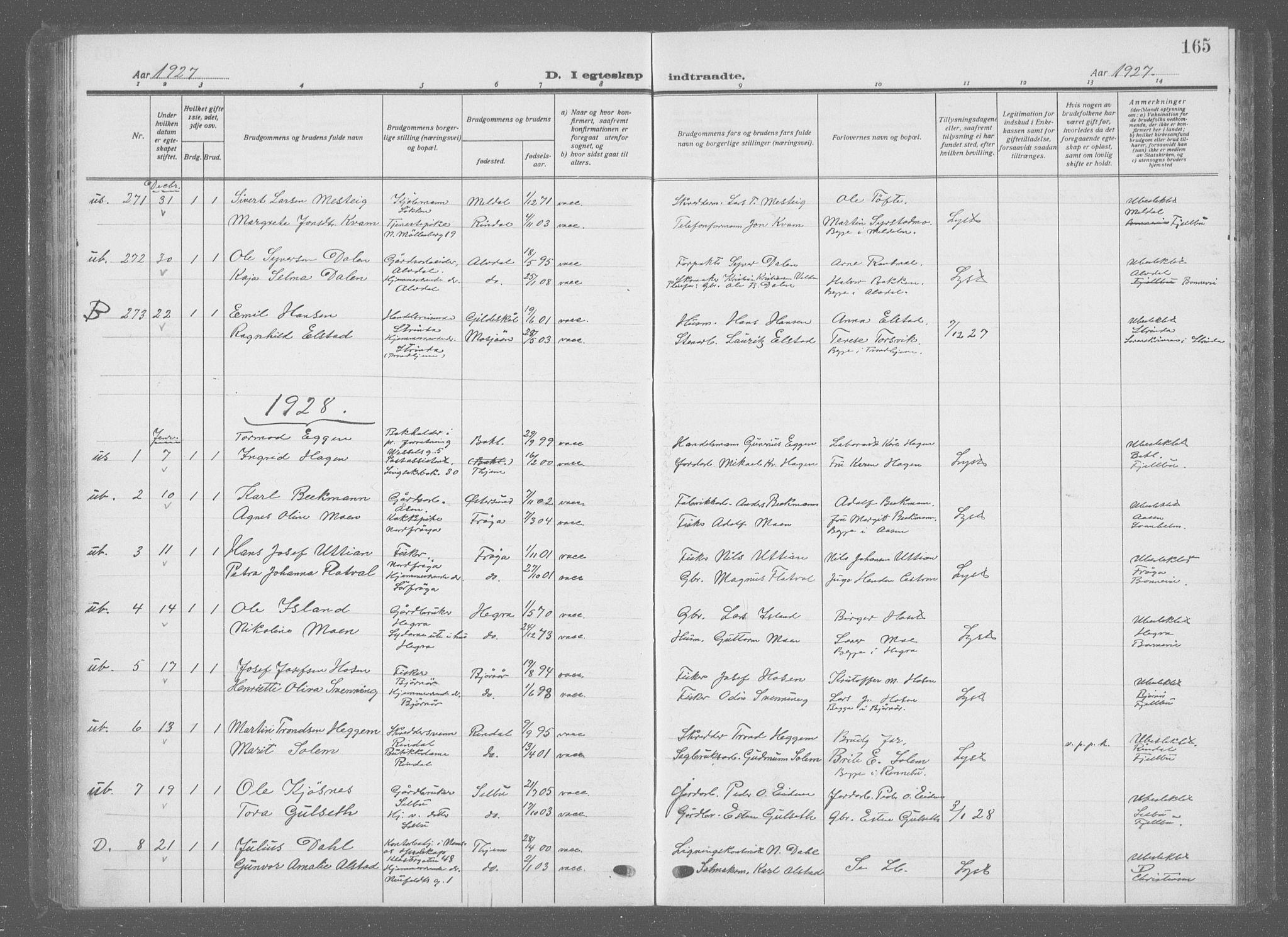 SAT, Ministerialprotokoller, klokkerbøker og fødselsregistre - Sør-Trøndelag, 601/L0098: Klokkerbok nr. 601C16, 1921-1934, s. 165