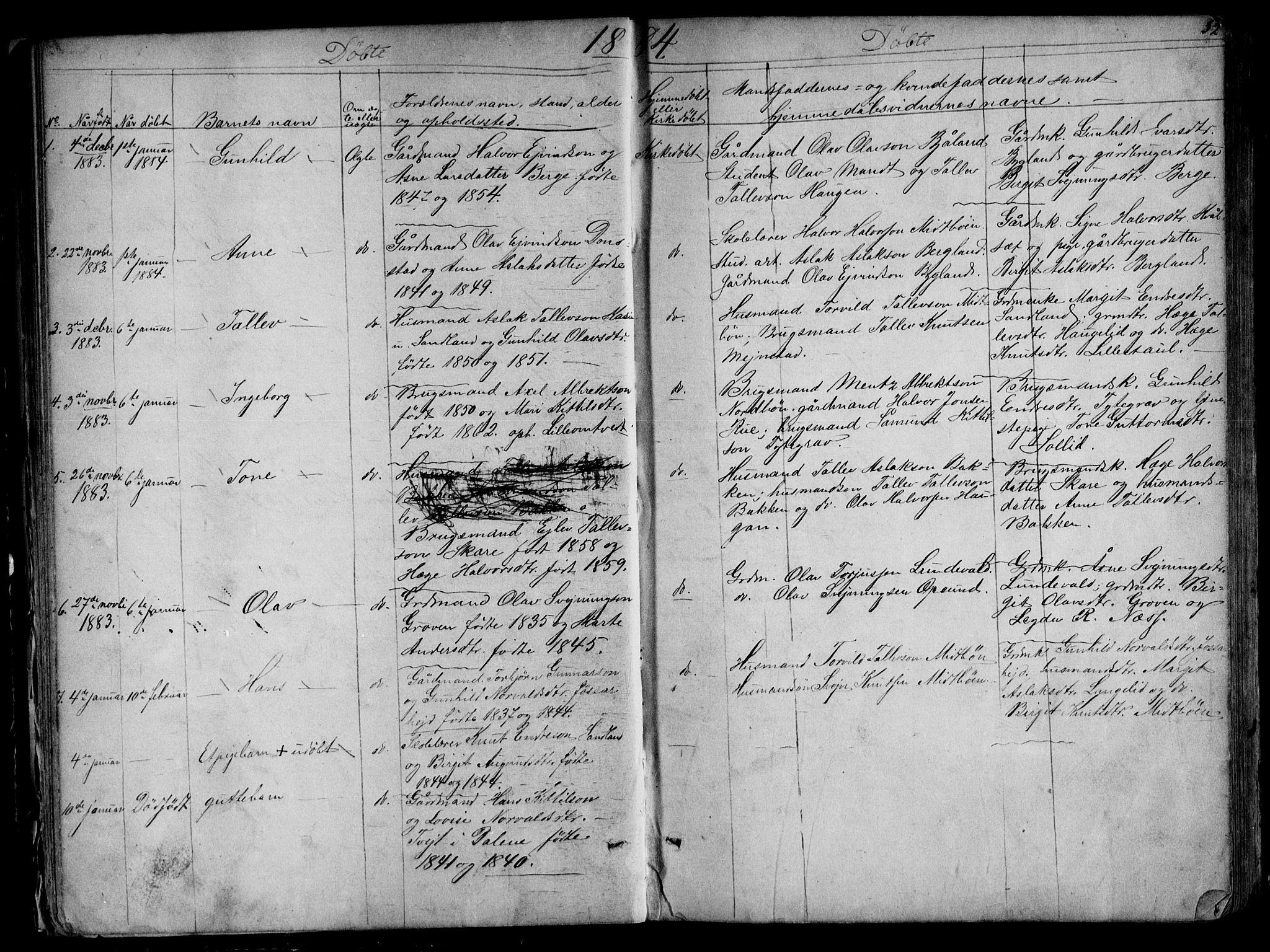 SAKO, Kviteseid kirkebøker, G/Gb/L0002: Klokkerbok nr. II 2, 1850-1892, s. 52