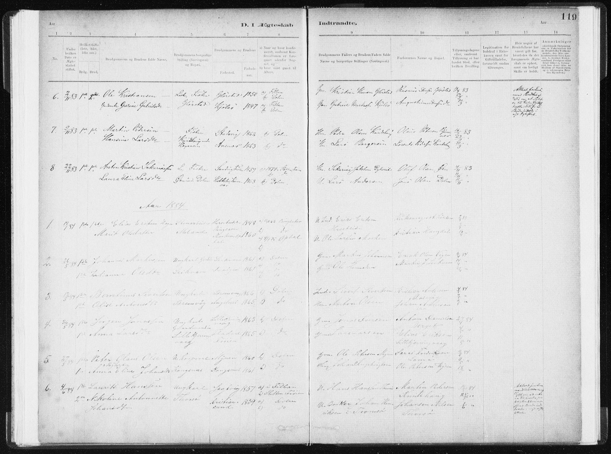 SAT, Ministerialprotokoller, klokkerbøker og fødselsregistre - Sør-Trøndelag, 634/L0533: Ministerialbok nr. 634A09, 1882-1901, s. 119