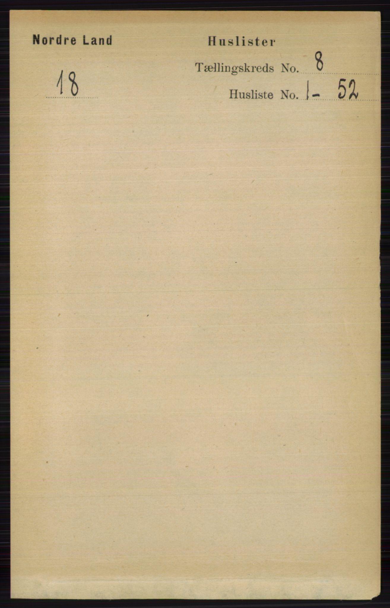 RA, Folketelling 1891 for 0538 Nordre Land herred, 1891, s. 2153