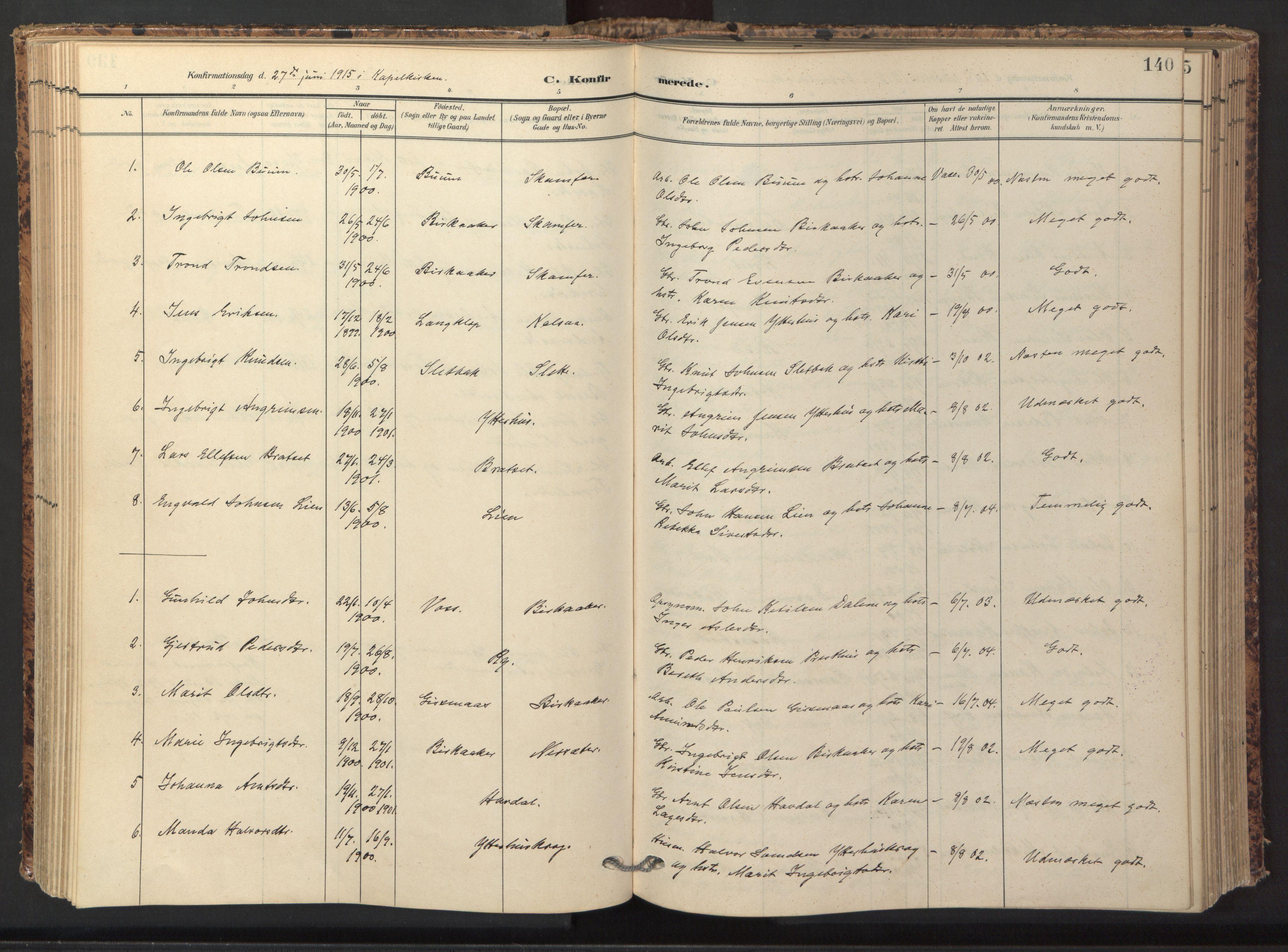 SAT, Ministerialprotokoller, klokkerbøker og fødselsregistre - Sør-Trøndelag, 674/L0873: Ministerialbok nr. 674A05, 1908-1923, s. 140