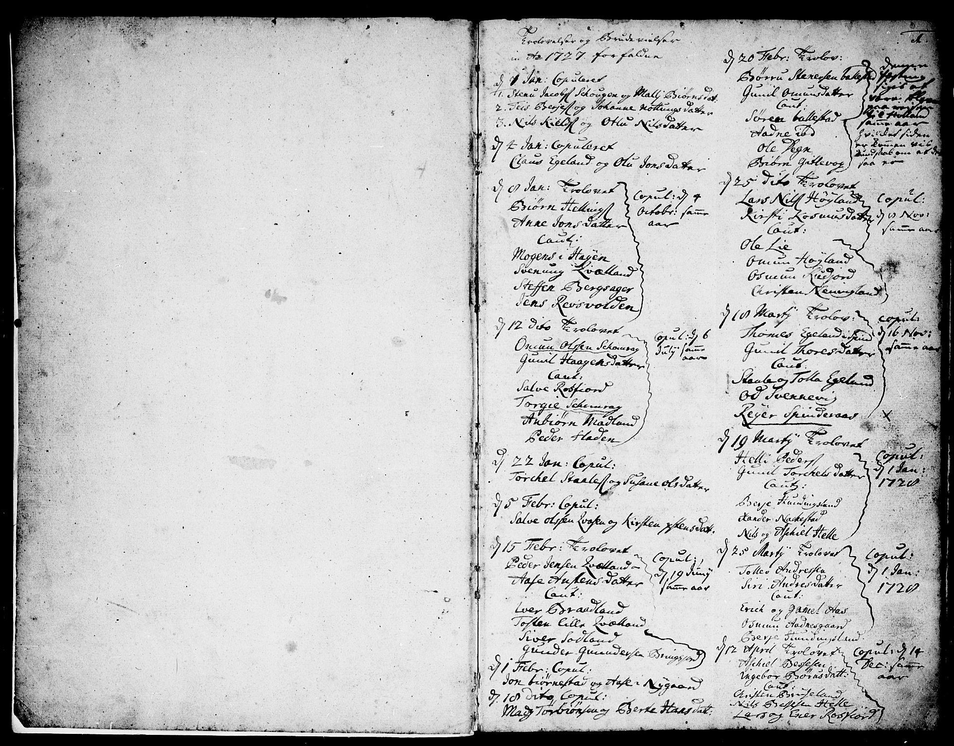 SAK, Lyngdal sokneprestkontor, F/Fa/Fac/L0002: Ministerialbok nr. A 2, 1727-1815, s. 0-1