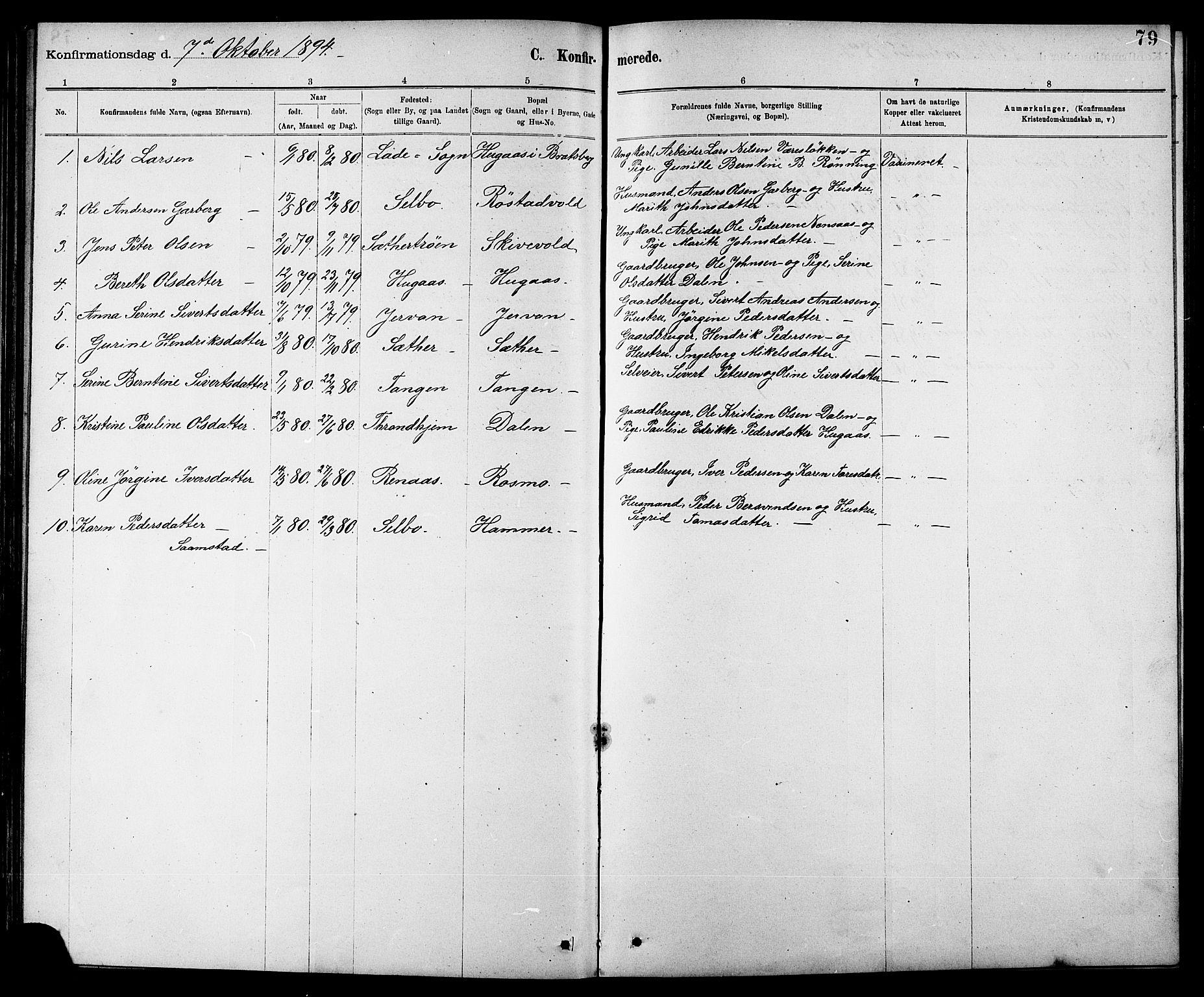 SAT, Ministerialprotokoller, klokkerbøker og fødselsregistre - Sør-Trøndelag, 608/L0341: Klokkerbok nr. 608C07, 1890-1912, s. 79