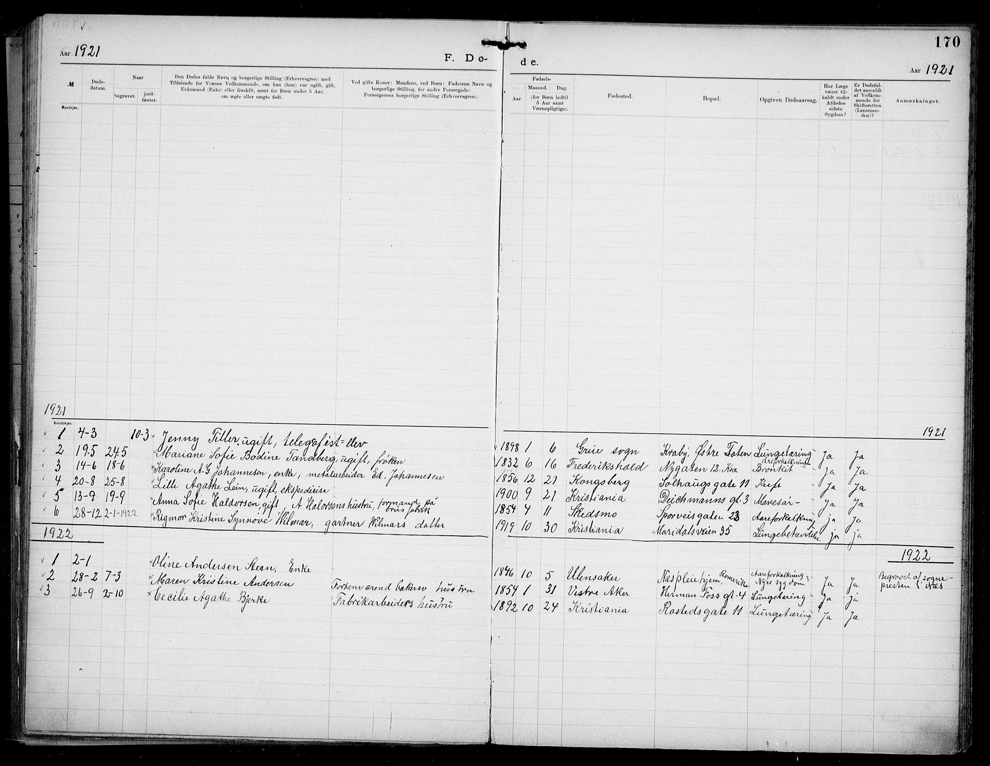 SAO, Den katolsk apostoliske menighet i Oslo , F/Fa/L0002: Dissenterprotokoll nr. 2, 1892-1937, s. 170