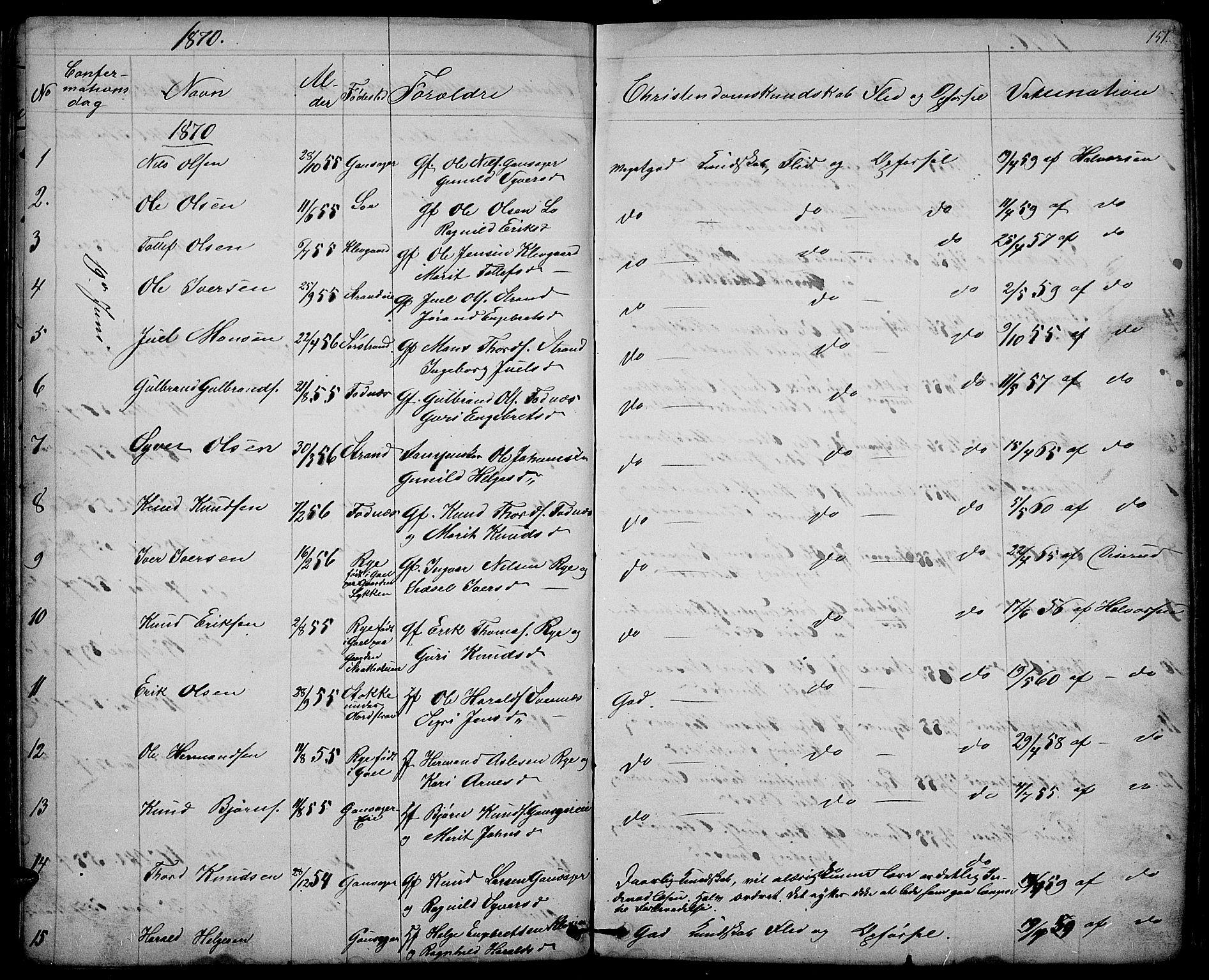 SAH, Nord-Aurdal prestekontor, Klokkerbok nr. 3, 1842-1882, s. 151