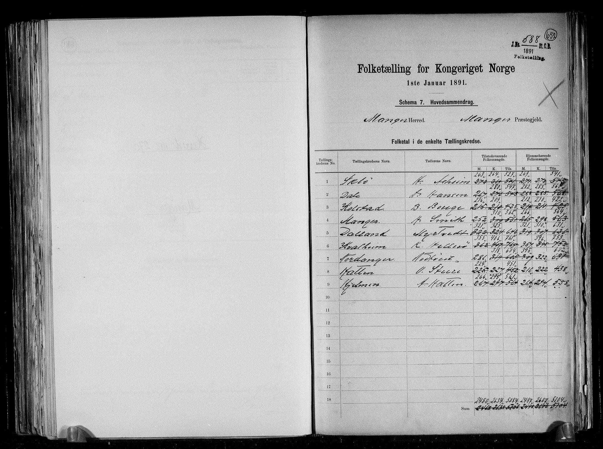 RA, Folketelling 1891 for 1261 Manger herred, 1891, s. 2