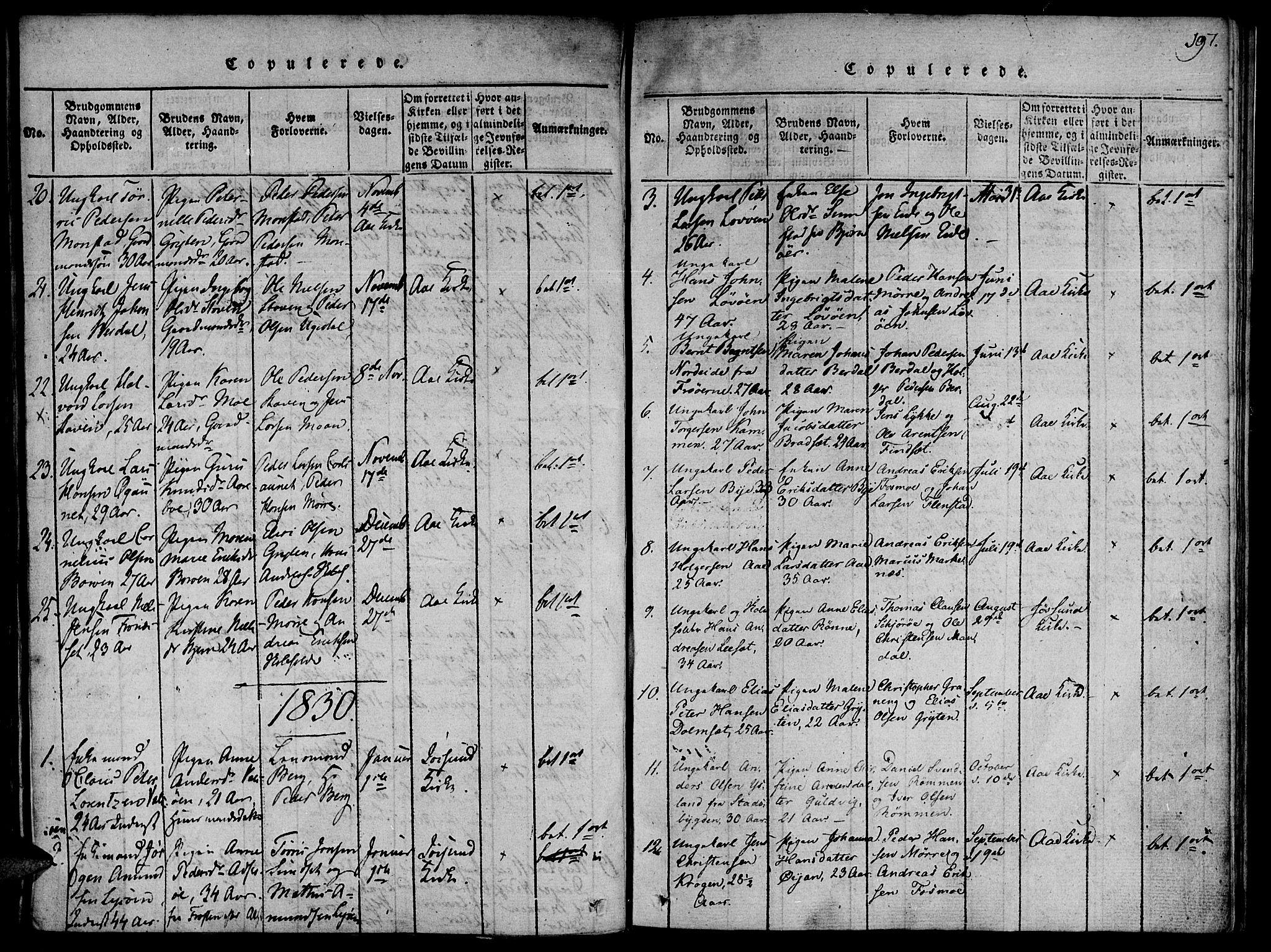 SAT, Ministerialprotokoller, klokkerbøker og fødselsregistre - Sør-Trøndelag, 655/L0675: Ministerialbok nr. 655A04, 1818-1830, s. 197