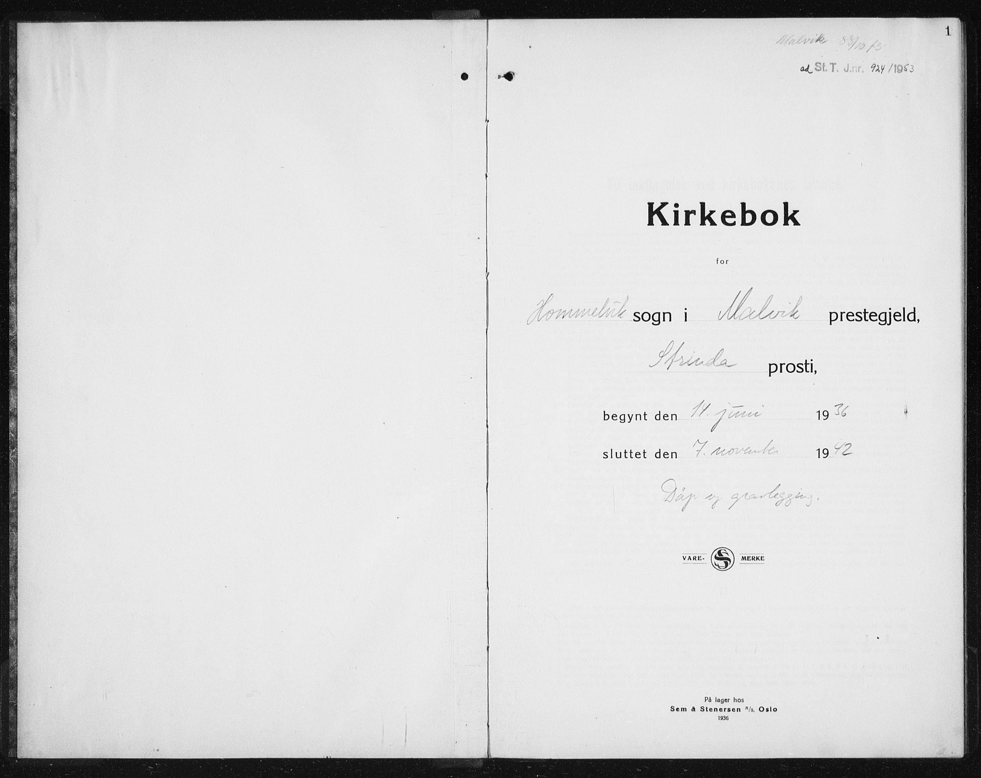 SAT, Ministerialprotokoller, klokkerbøker og fødselsregistre - Sør-Trøndelag, 617/L0432: Klokkerbok nr. 617C03, 1936-1942, s. 1