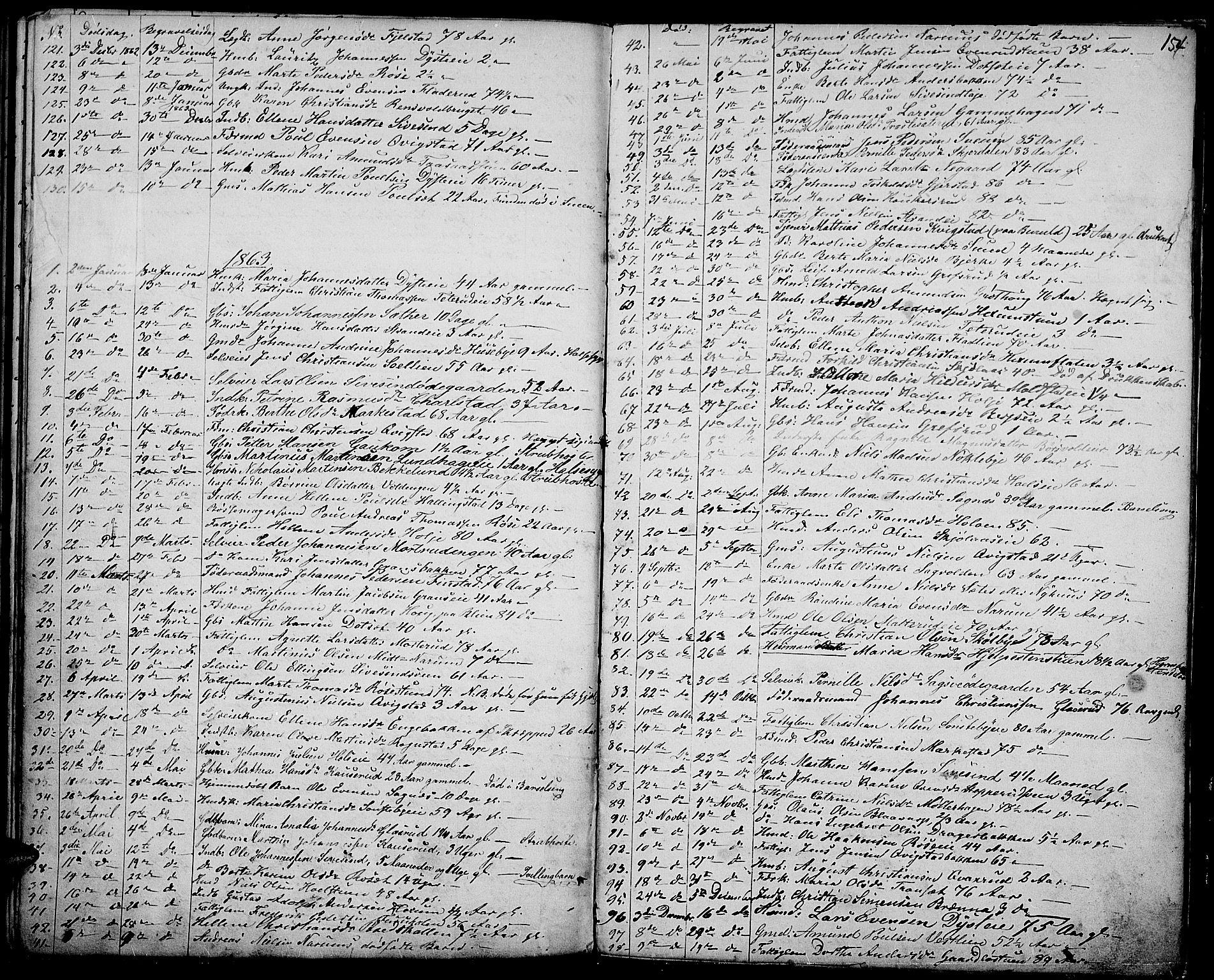 SAH, Vestre Toten prestekontor, Klokkerbok nr. 5, 1854-1870, s. 154