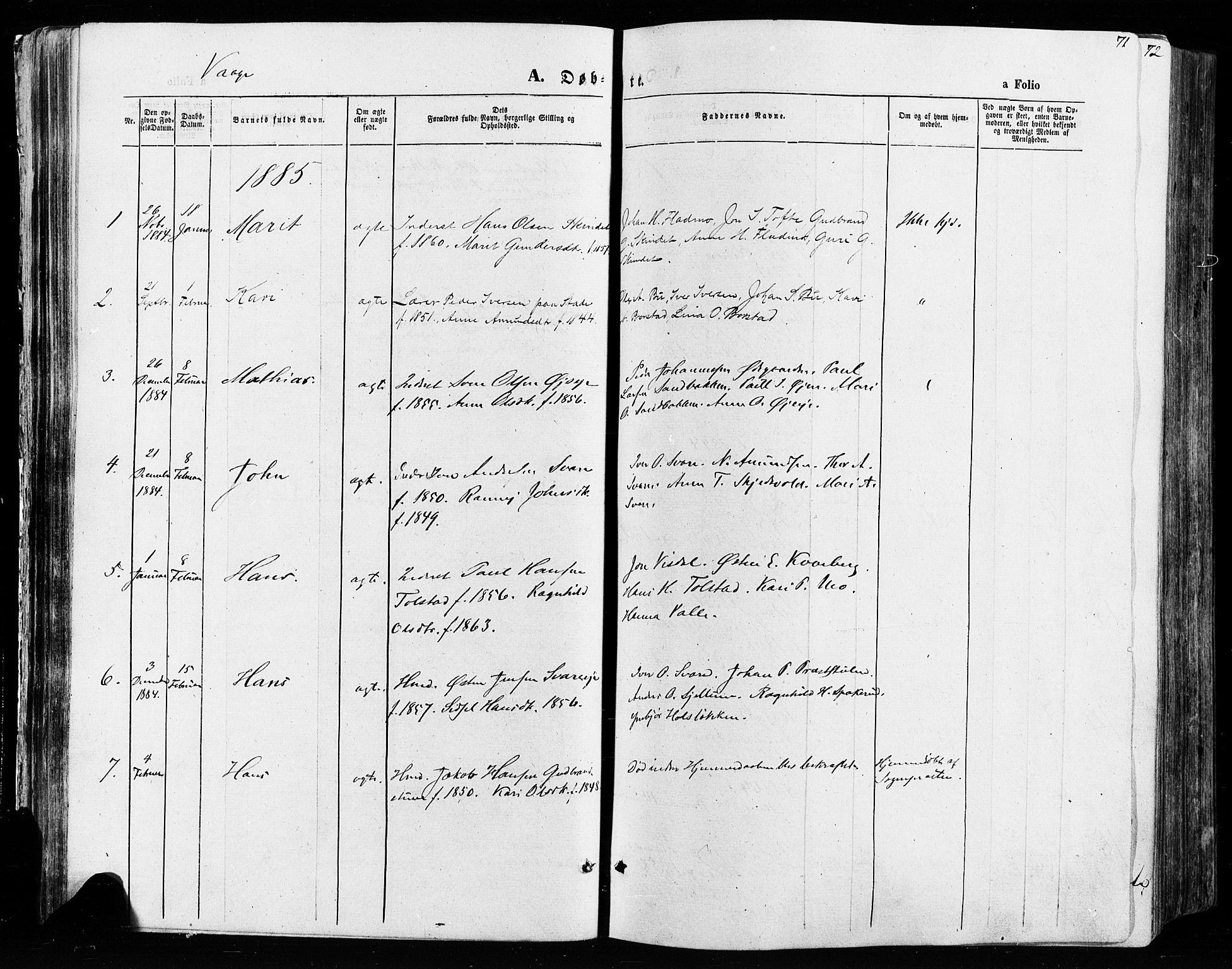 SAH, Vågå prestekontor, Ministerialbok nr. 7 /1, 1872-1886, s. 71