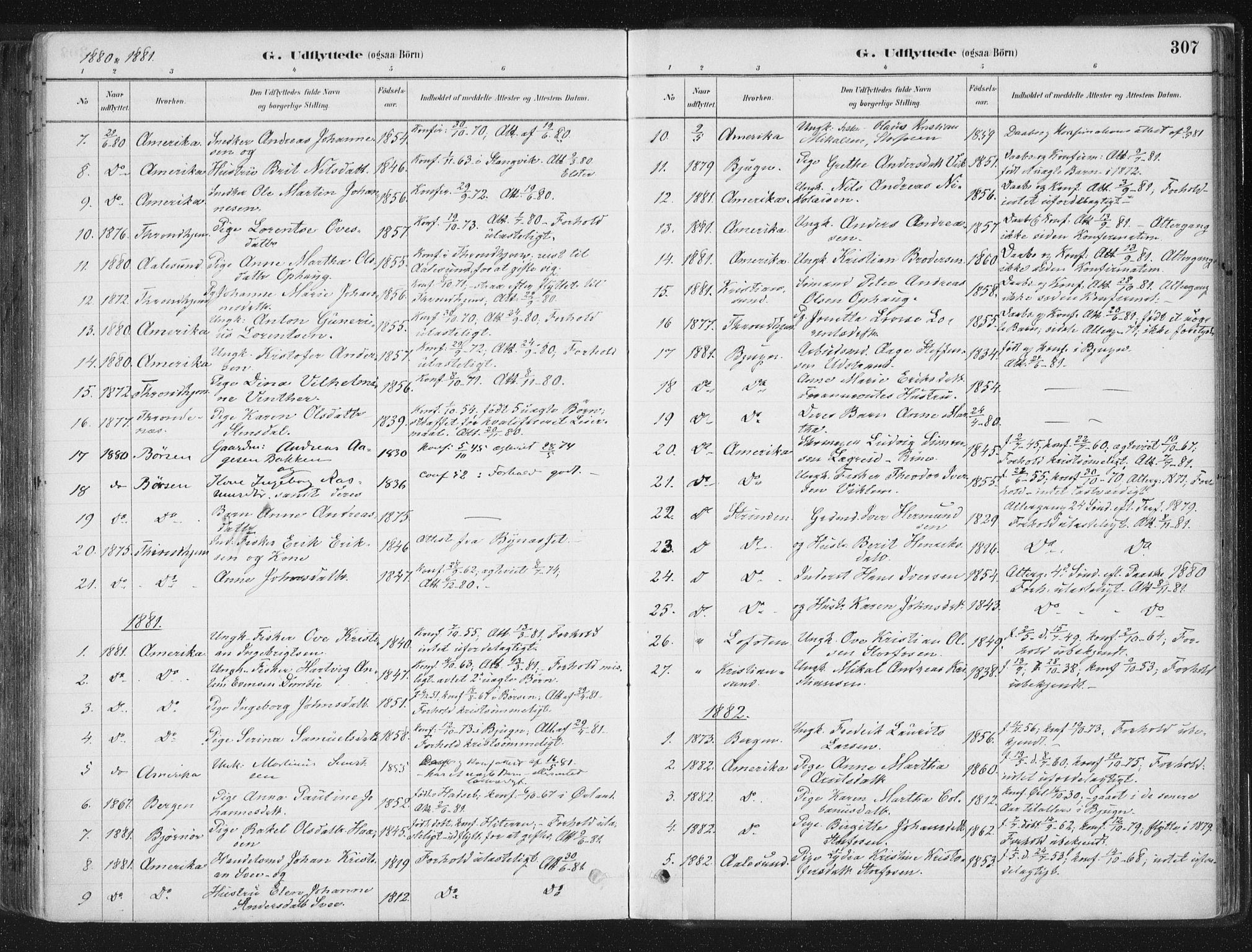 SAT, Ministerialprotokoller, klokkerbøker og fødselsregistre - Sør-Trøndelag, 659/L0739: Ministerialbok nr. 659A09, 1879-1893, s. 307