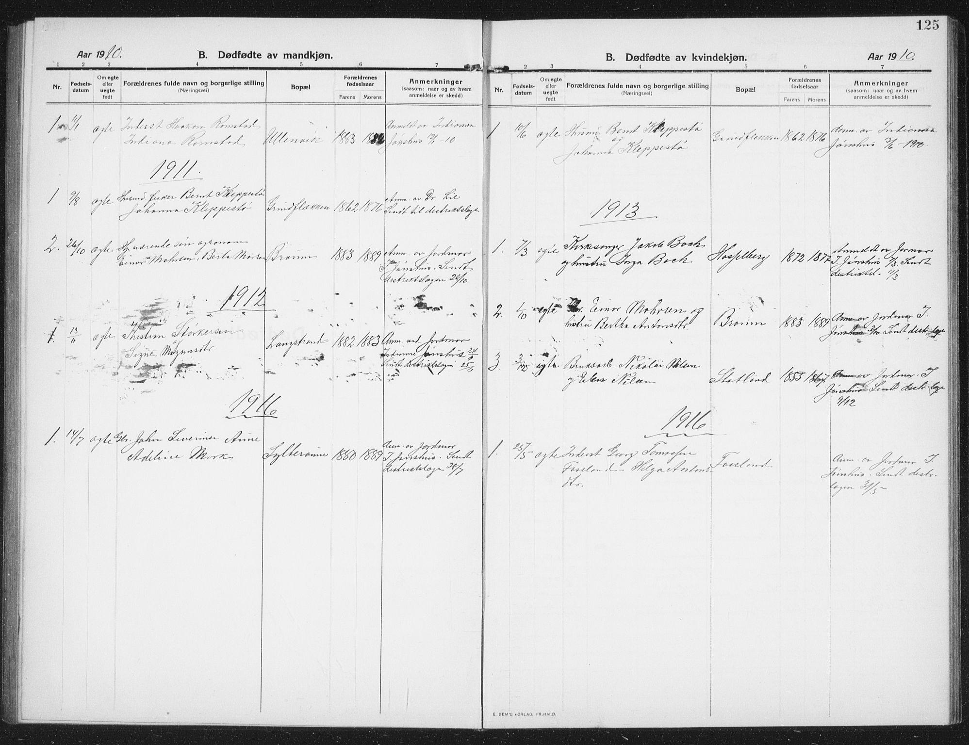 SAT, Ministerialprotokoller, klokkerbøker og fødselsregistre - Nord-Trøndelag, 774/L0630: Klokkerbok nr. 774C01, 1910-1934, s. 125