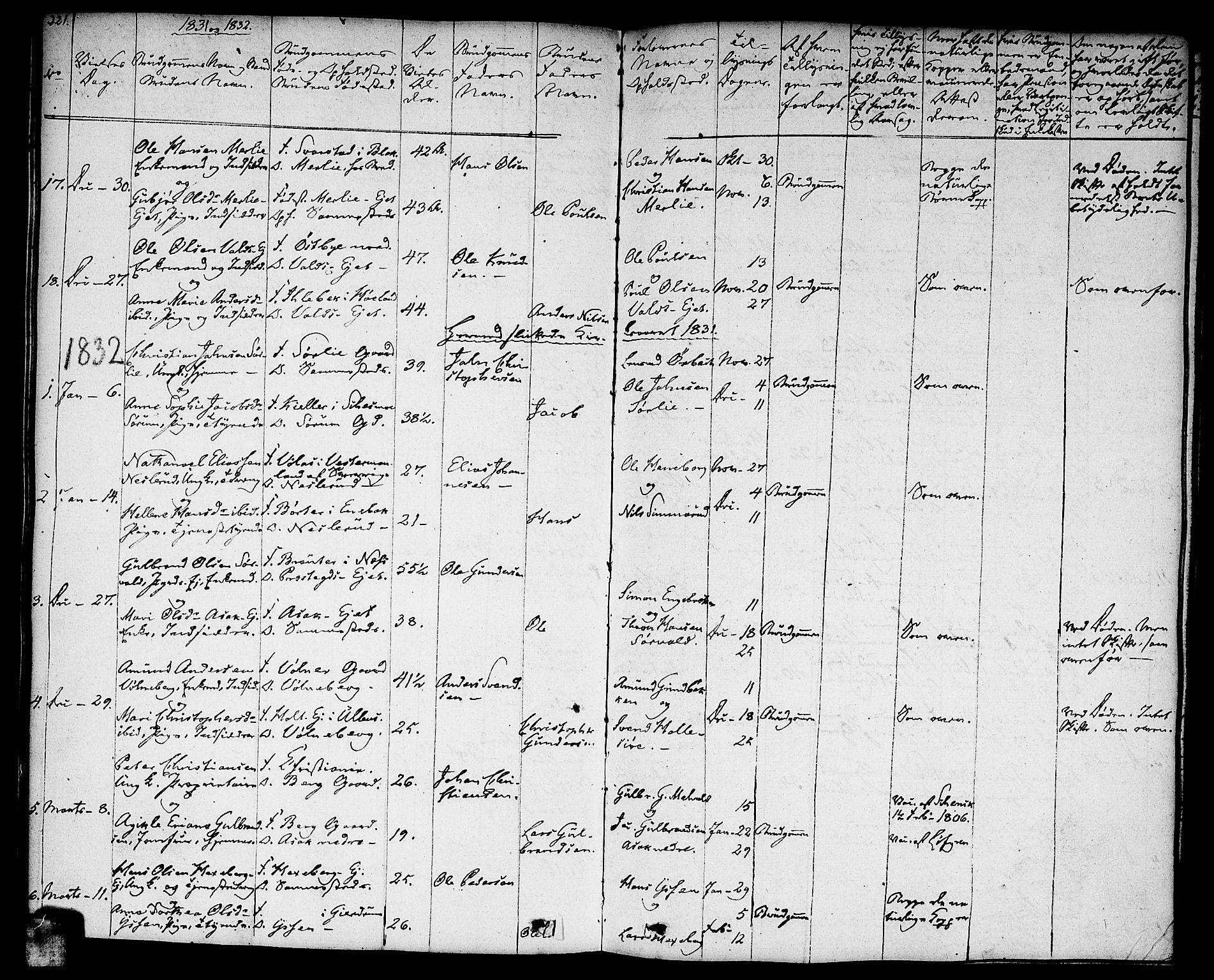 SAO, Sørum prestekontor Kirkebøker, F/Fa/L0004: Ministerialbok nr. I 4, 1829-1845, s. 221