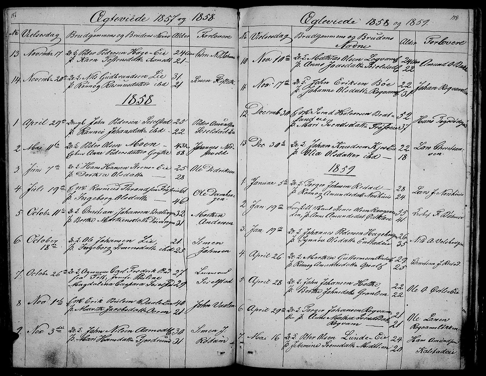 SAH, Gausdal prestekontor, Klokkerbok nr. 3, 1829-1864, s. 187-188