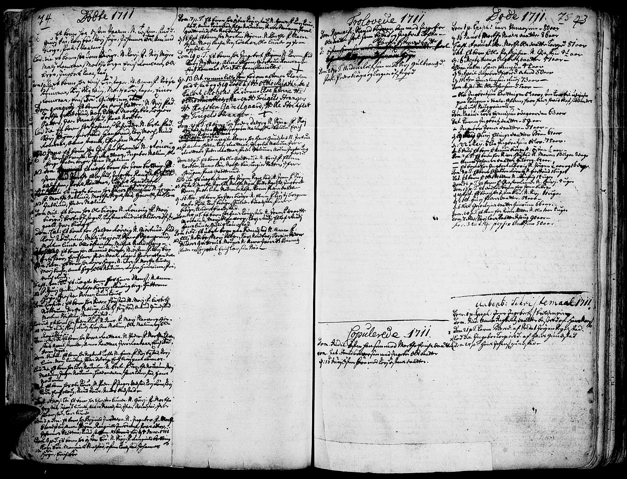 SAH, Ringebu prestekontor, Ministerialbok nr. 1, 1696-1733, s. 74-75