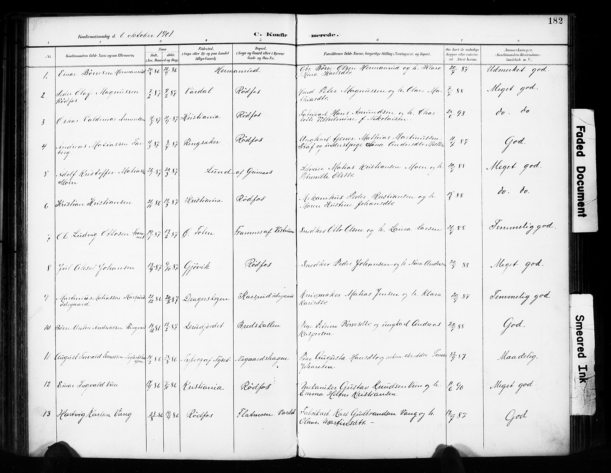 SAH, Vestre Toten prestekontor, H/Ha/Haa/L0011: Ministerialbok nr. 11, 1895-1906, s. 182
