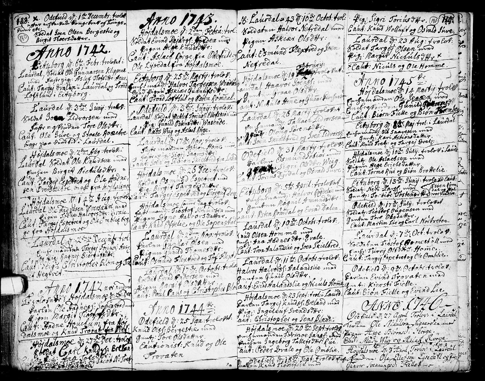 SAKO, Lårdal kirkebøker, F/Fa/L0002: Ministerialbok nr. I 2, 1734-1754, s. 180-181