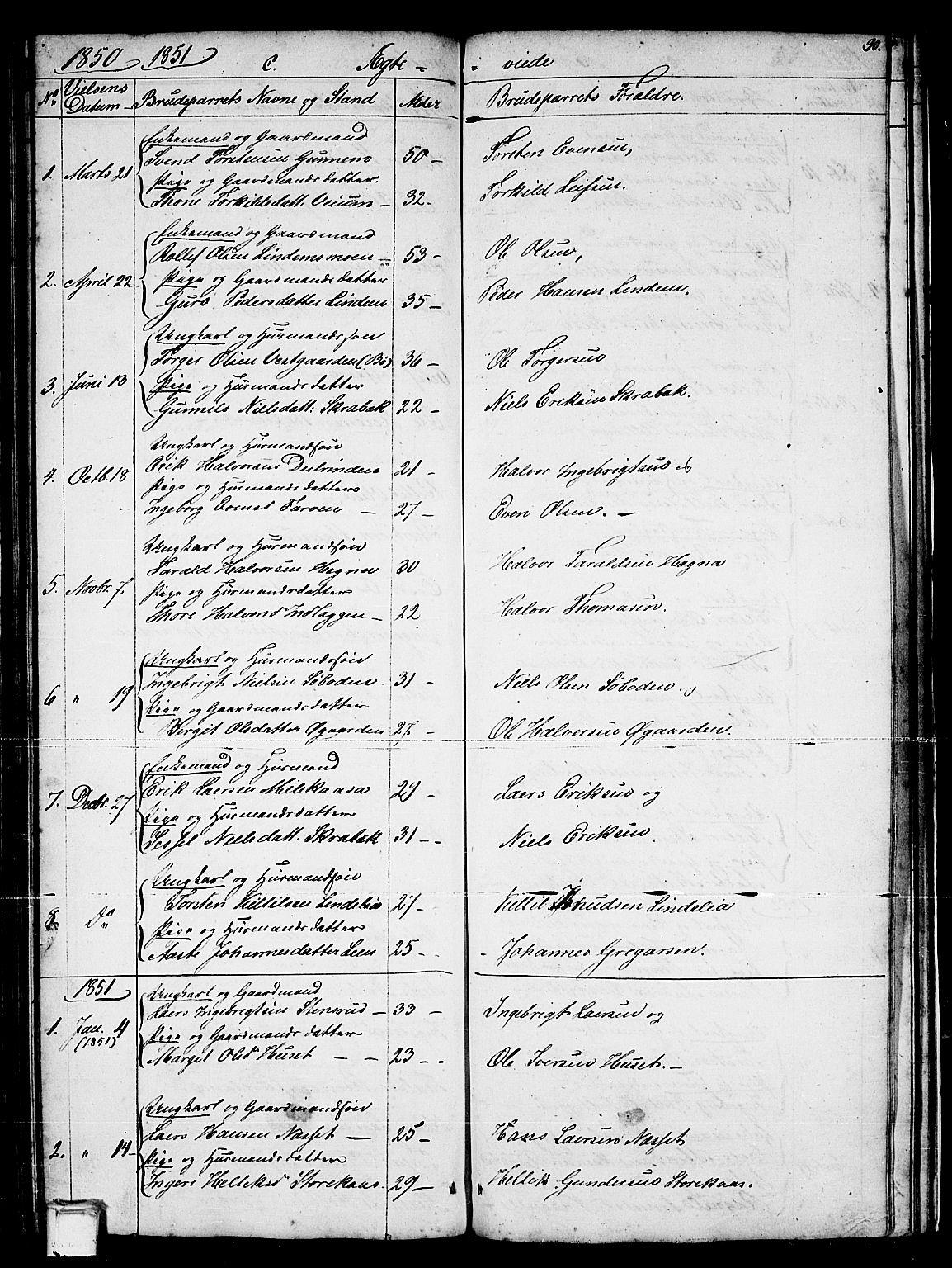 SAKO, Sauherad kirkebøker, G/Gb/L0001: Klokkerbok nr. II 1, 1845-1865, s. 90