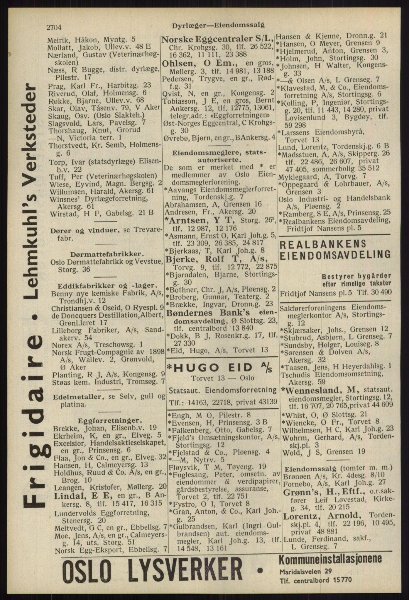 RA, Oslo adressebok (publikasjon)*, 1939, s. 2704