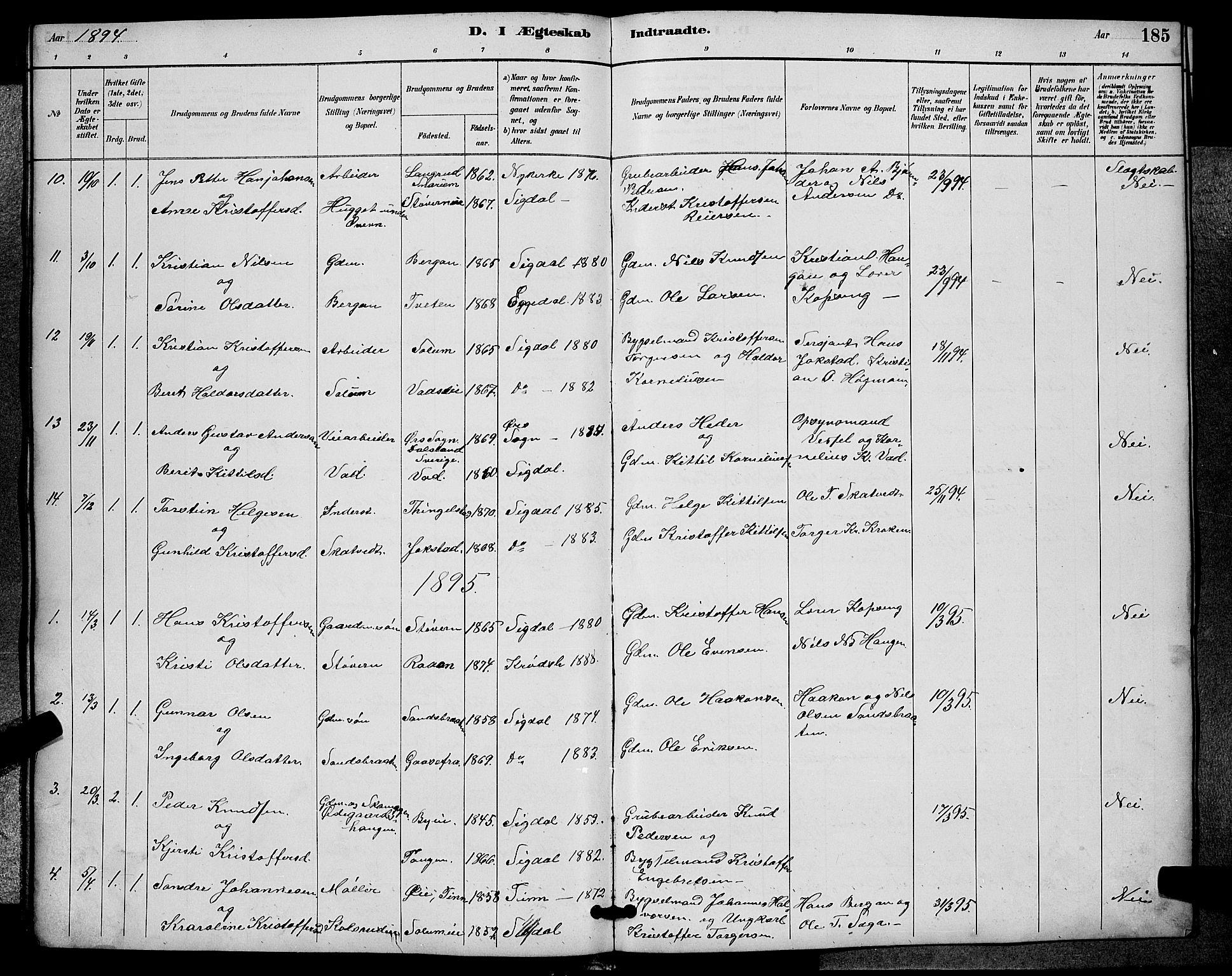 SAKO, Sigdal kirkebøker, G/Ga/L0005: Klokkerbok nr. I 5, 1886-1900, s. 185