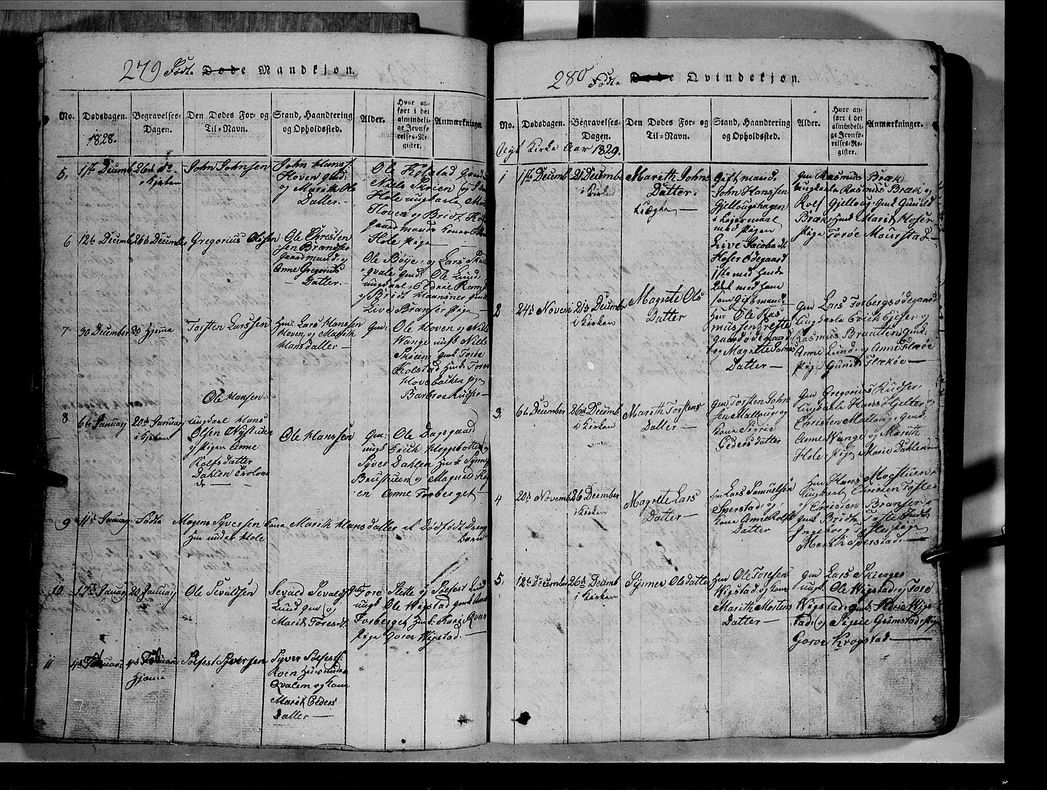 SAH, Lom prestekontor, L/L0003: Klokkerbok nr. 3, 1815-1844, s. 279-280