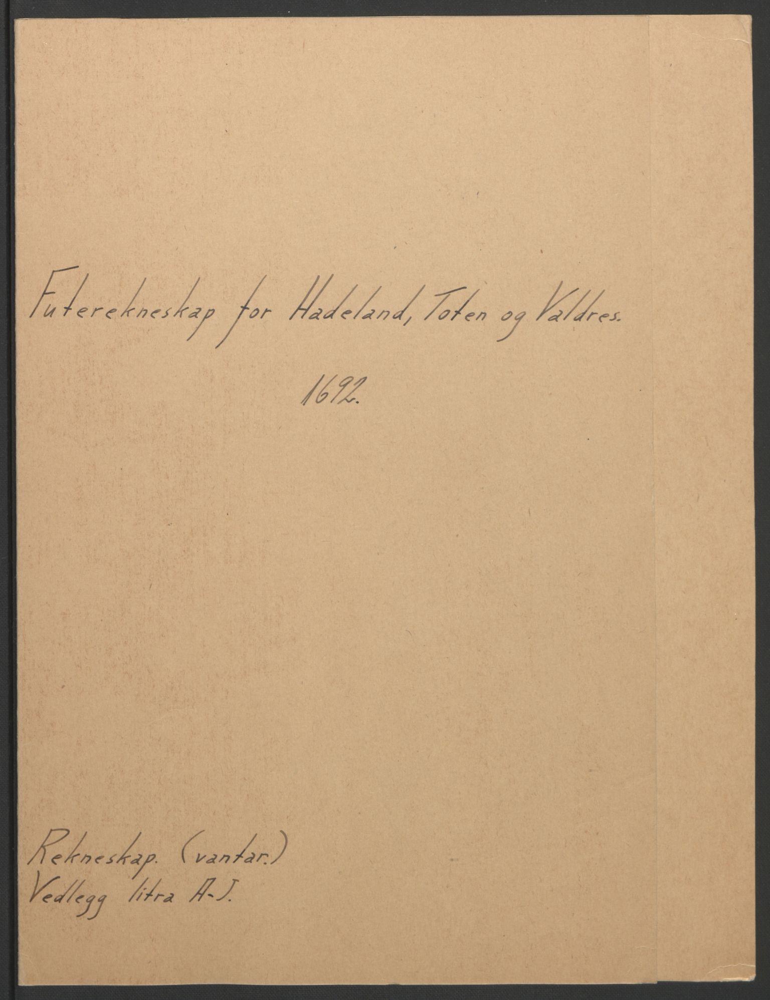 RA, Rentekammeret inntil 1814, Reviderte regnskaper, Fogderegnskap, R18/L1291: Fogderegnskap Hadeland, Toten og Valdres, 1692, s. 2