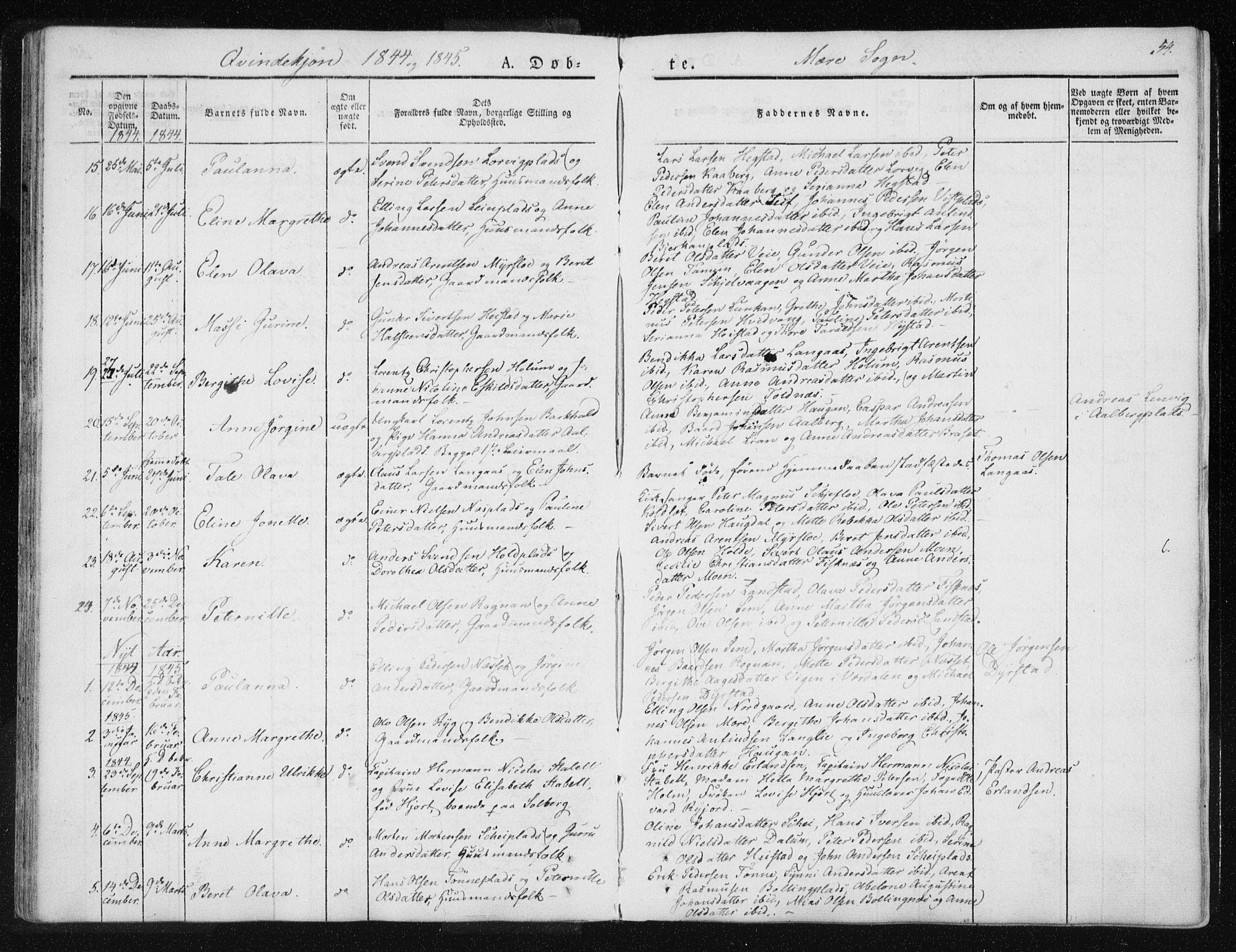 SAT, Ministerialprotokoller, klokkerbøker og fødselsregistre - Nord-Trøndelag, 735/L0339: Ministerialbok nr. 735A06 /1, 1836-1848, s. 54