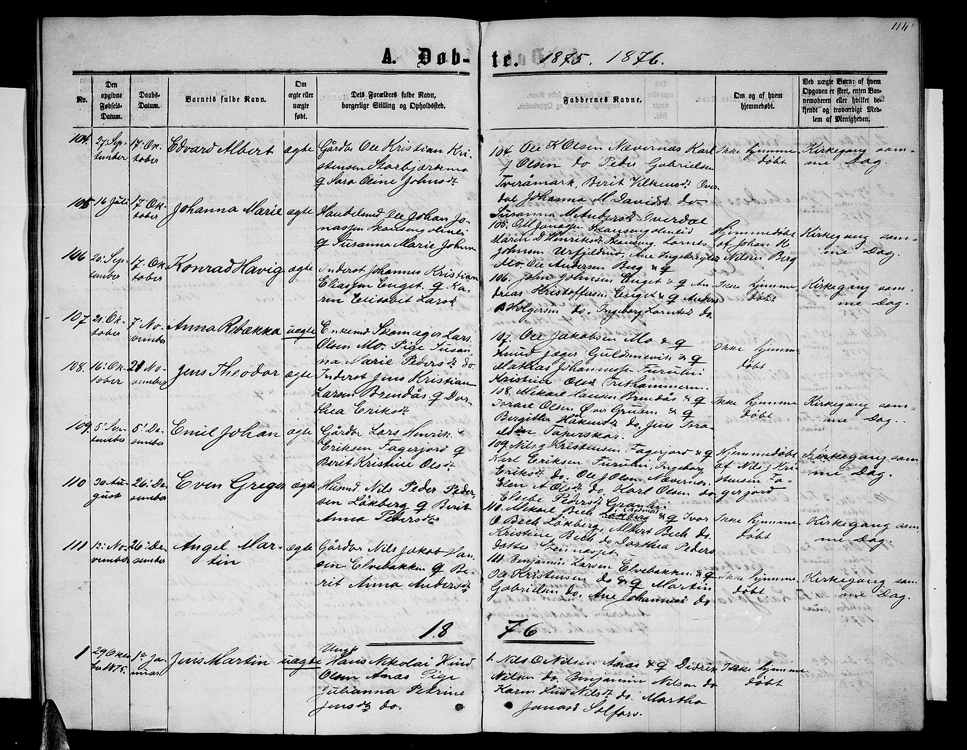 SAT, Ministerialprotokoller, klokkerbøker og fødselsregistre - Nordland, 827/L0415: Klokkerbok nr. 827C04, 1864-1886, s. 114