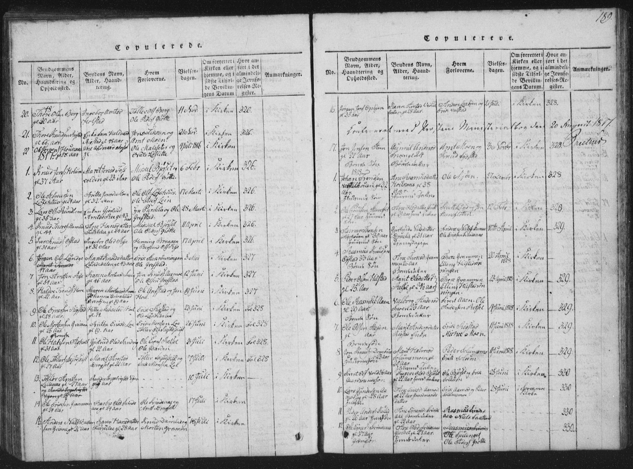 SAT, Ministerialprotokoller, klokkerbøker og fødselsregistre - Sør-Trøndelag, 672/L0862: Klokkerbok nr. 672C01, 1816-1831, s. 189