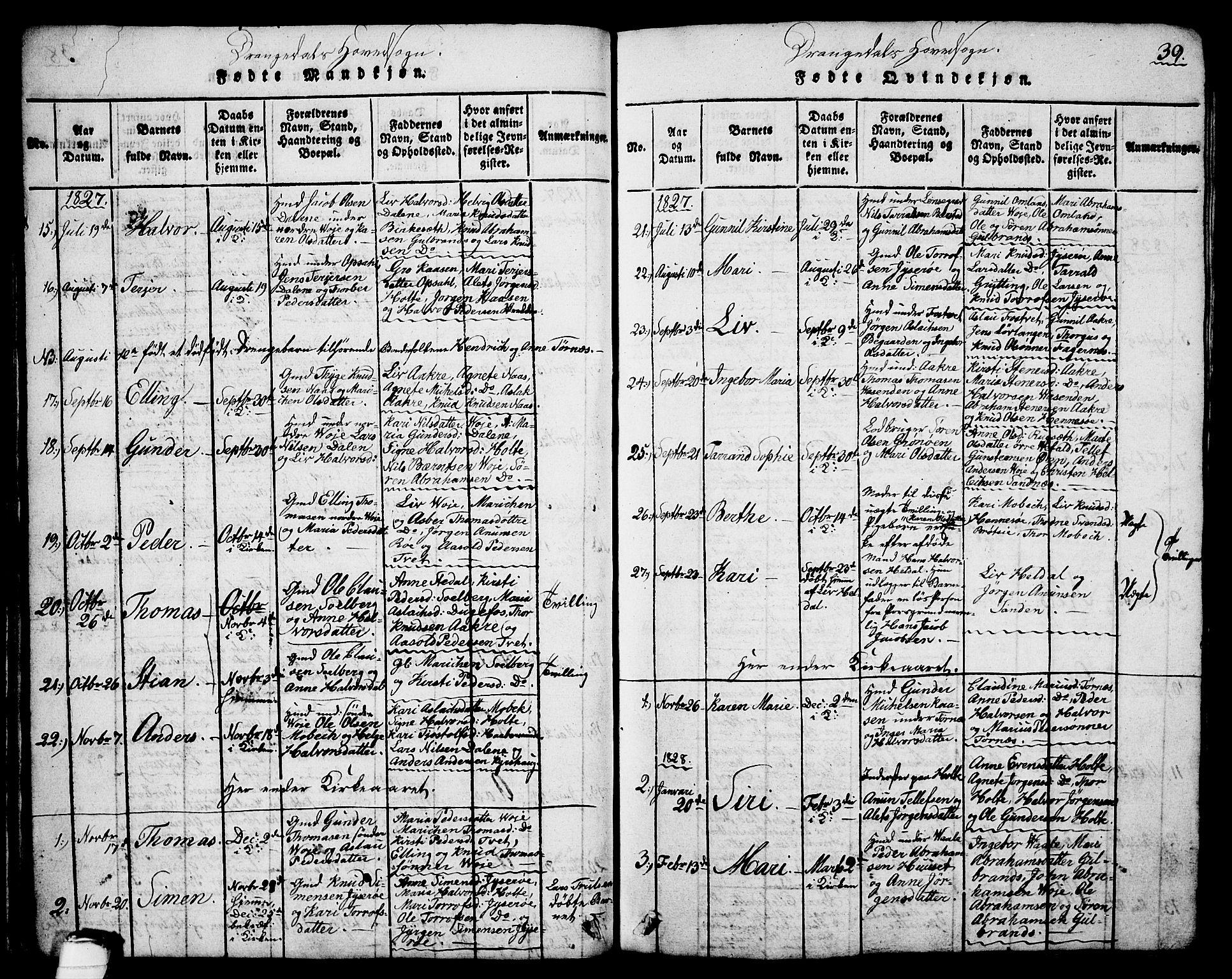 SAKO, Drangedal kirkebøker, G/Ga/L0001: Klokkerbok nr. I 1 /1, 1814-1856, s. 39