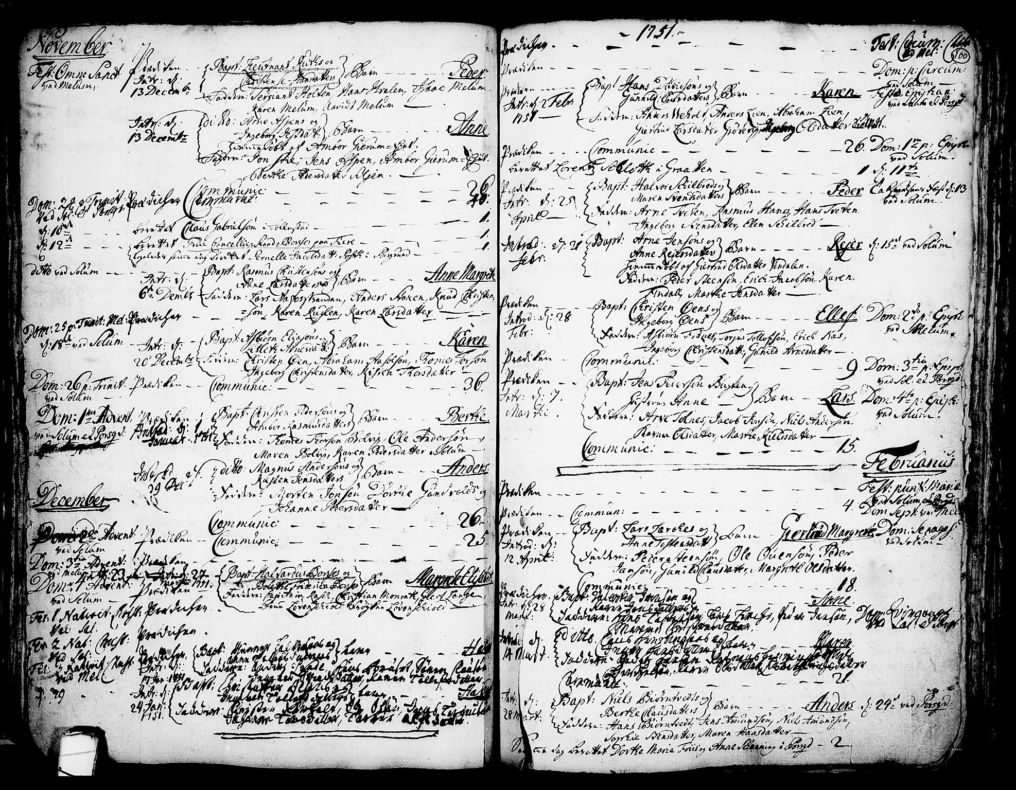 SAKO, Solum kirkebøker, F/Fa/L0002: Ministerialbok nr. I 2, 1713-1761, s. 100