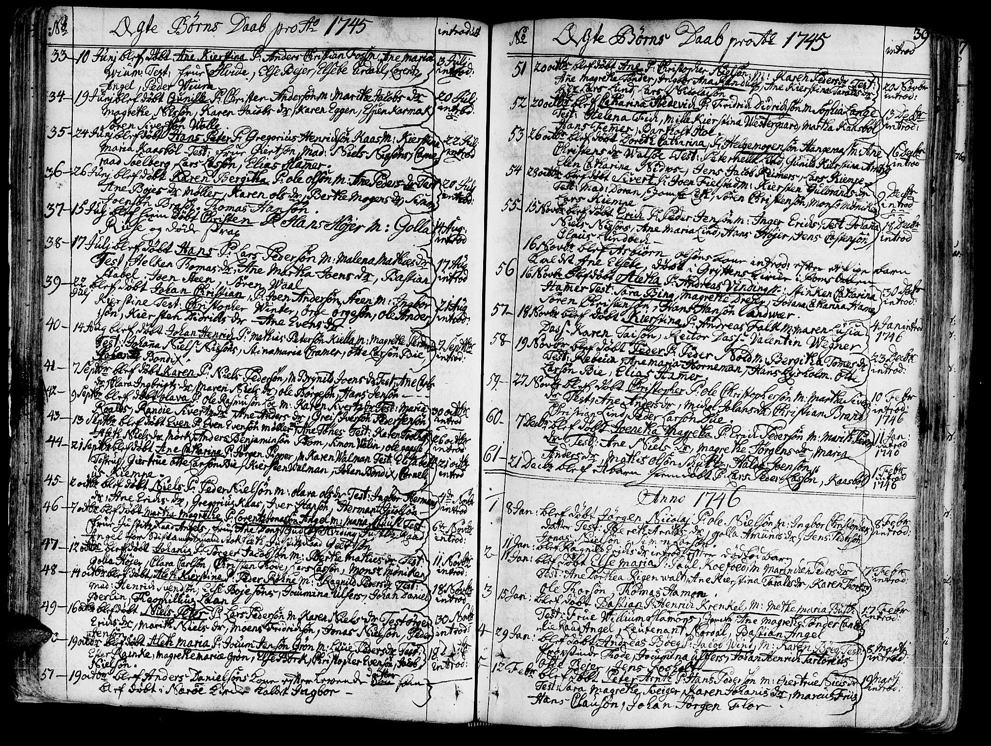 SAT, Ministerialprotokoller, klokkerbøker og fødselsregistre - Sør-Trøndelag, 602/L0103: Ministerialbok nr. 602A01, 1732-1774, s. 39