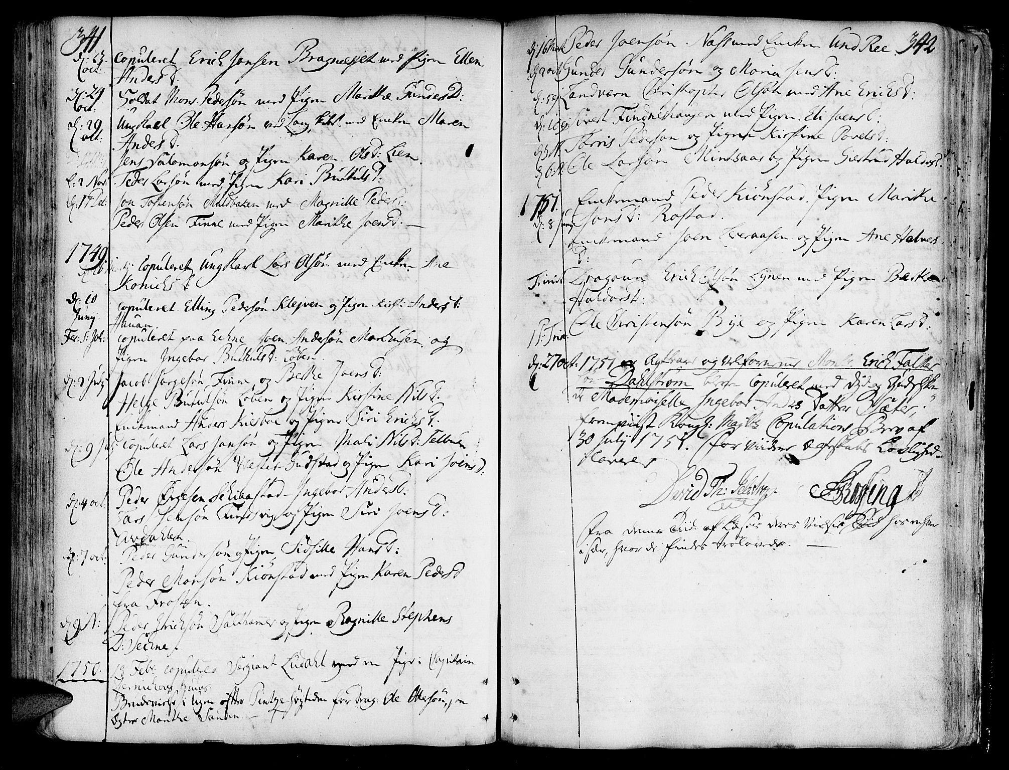 SAT, Ministerialprotokoller, klokkerbøker og fødselsregistre - Nord-Trøndelag, 717/L0141: Ministerialbok nr. 717A01, 1747-1803, s. 341-342