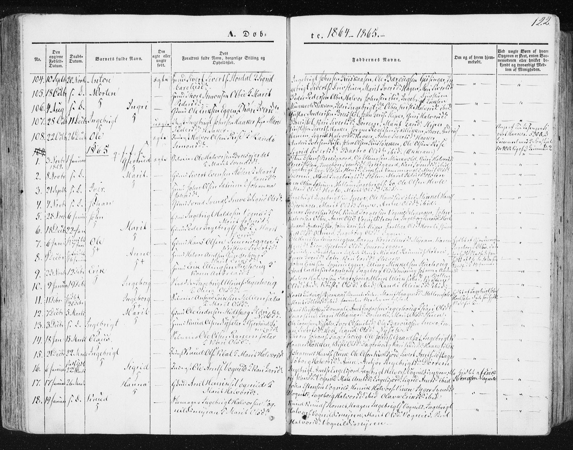 SAT, Ministerialprotokoller, klokkerbøker og fødselsregistre - Sør-Trøndelag, 678/L0899: Ministerialbok nr. 678A08, 1848-1872, s. 122