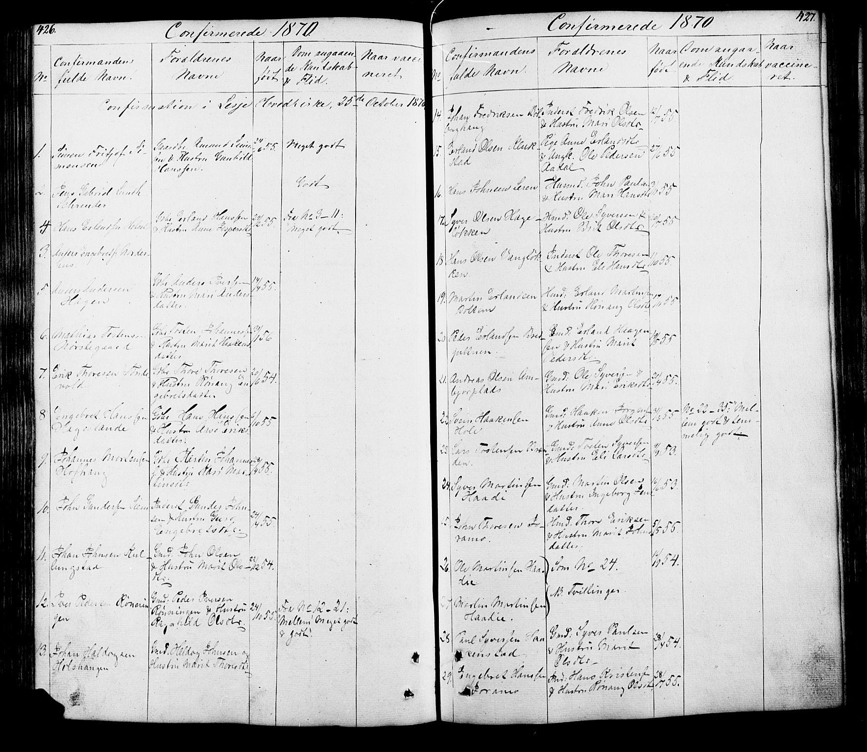 SAH, Lesja prestekontor, Klokkerbok nr. 5, 1850-1894, s. 426-427
