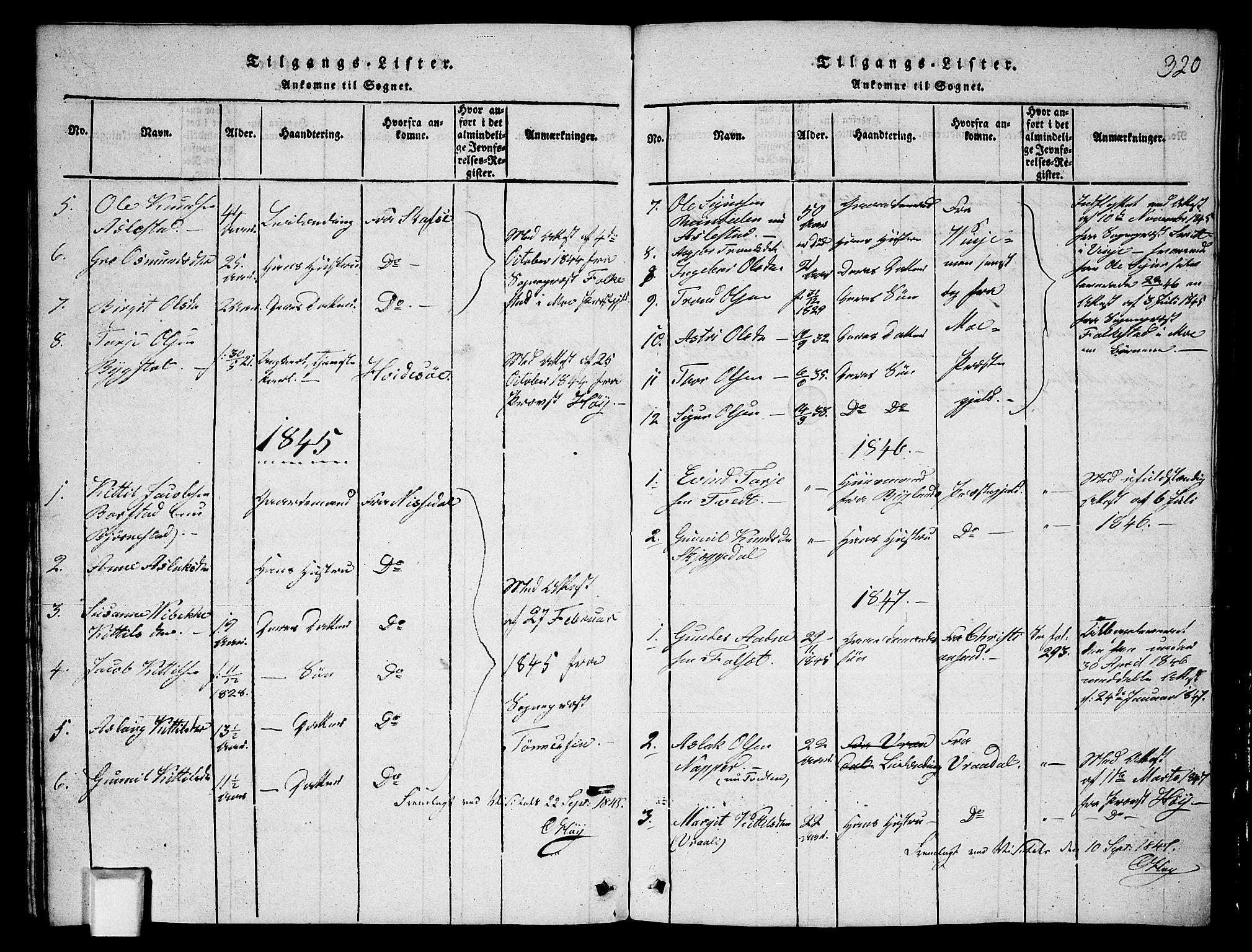 SAKO, Fyresdal kirkebøker, G/Ga/L0003: Klokkerbok nr. I 3, 1815-1863, s. 320