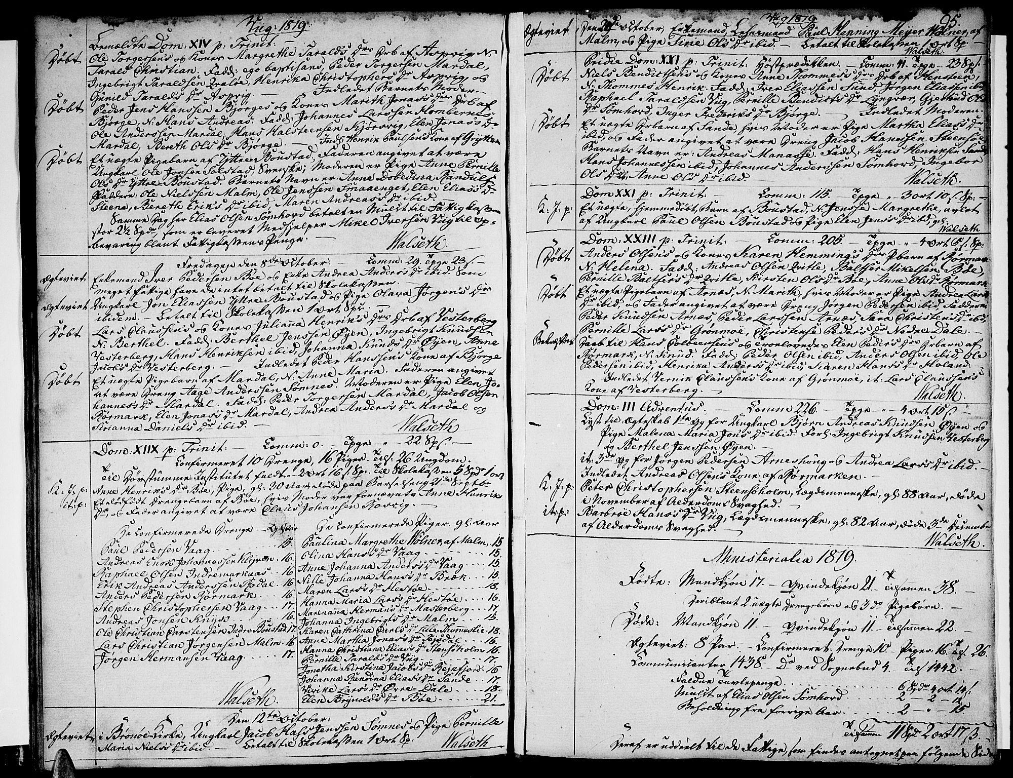 SAT, Ministerialprotokoller, klokkerbøker og fødselsregistre - Nordland, 812/L0174: Ministerialbok nr. 812A03, 1801-1819, s. 95