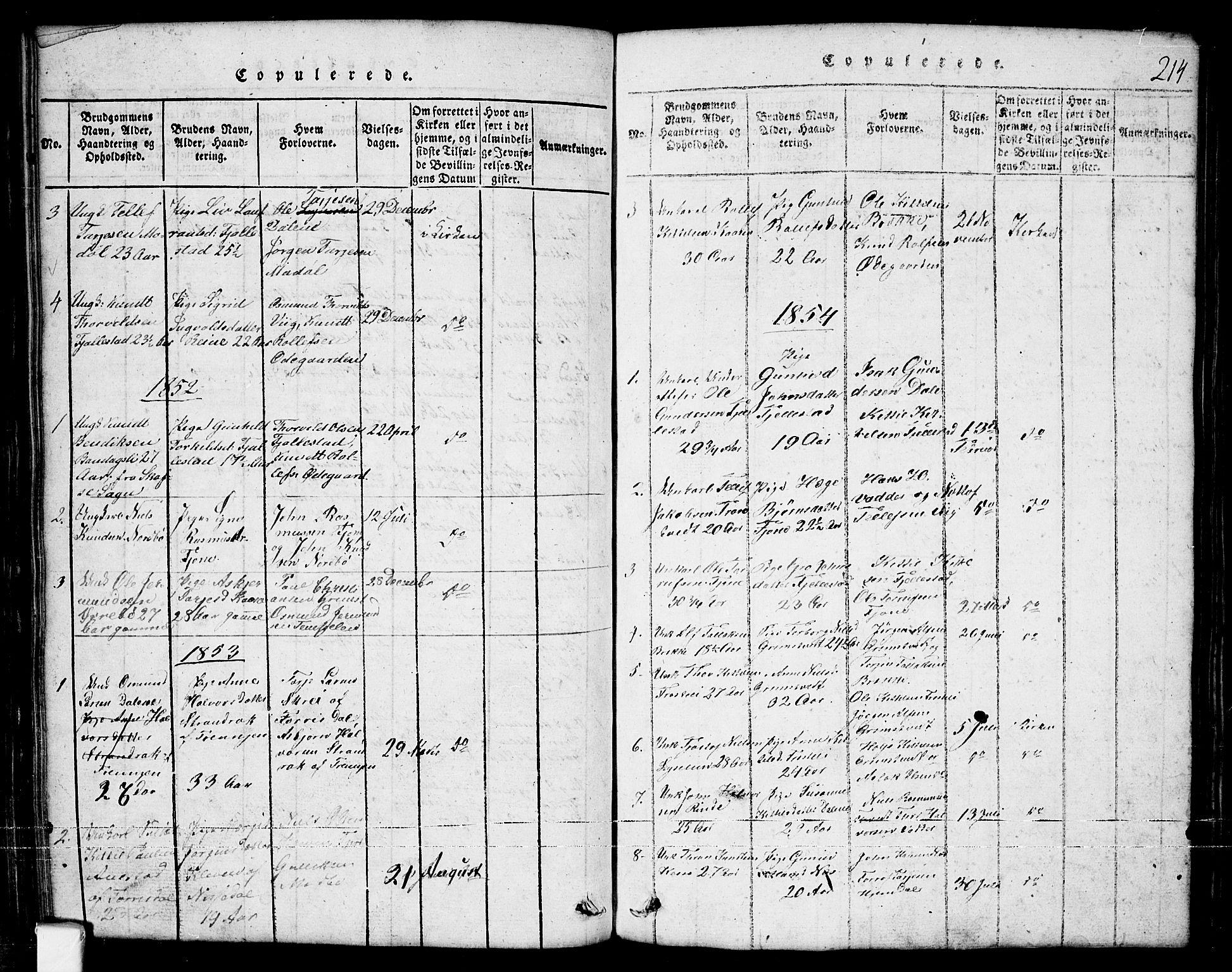 SAKO, Nissedal kirkebøker, G/Ga/L0001: Klokkerbok nr. I 1, 1814-1860, s. 214