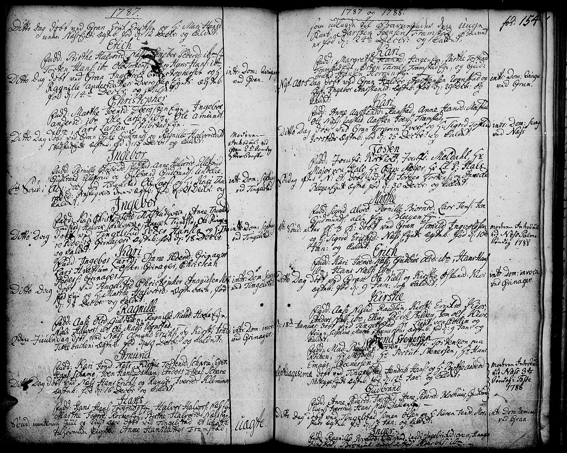 SAH, Gran prestekontor, Ministerialbok nr. 5, 1776-1788, s. 154