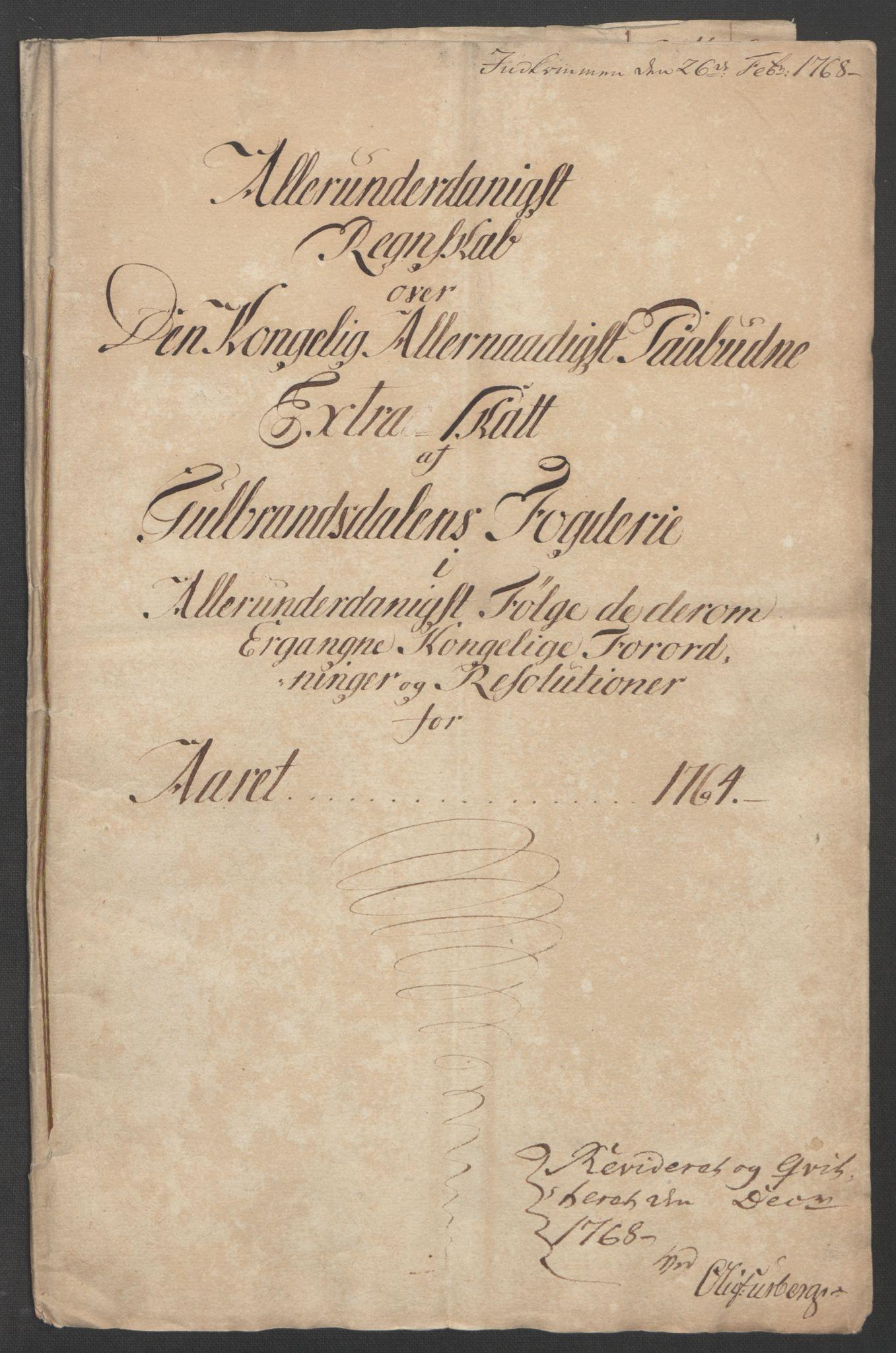 RA, Rentekammeret inntil 1814, Reviderte regnskaper, Fogderegnskap, R17/L1266: Ekstraskatten Gudbrandsdal, 1762-1766, s. 306