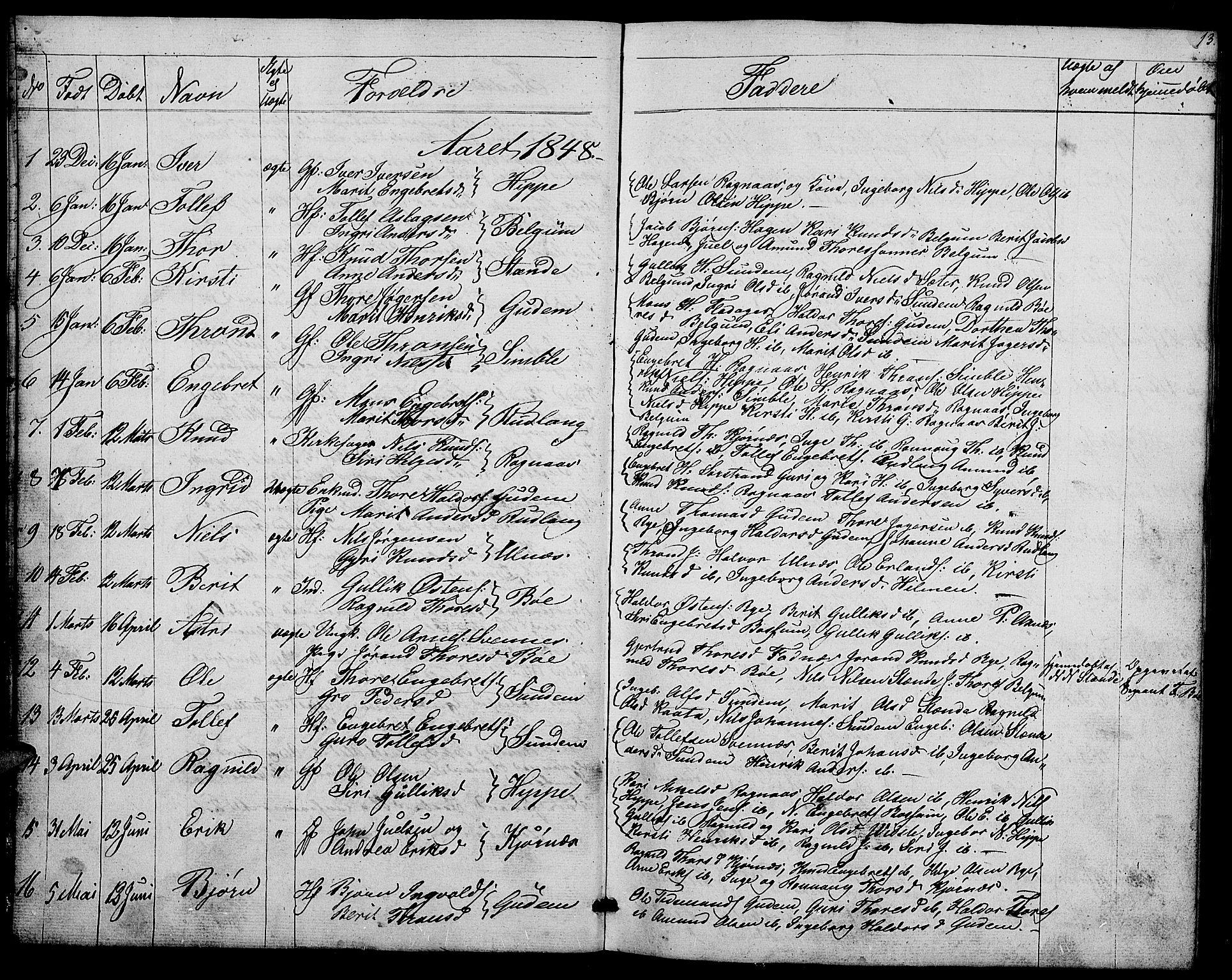 SAH, Nord-Aurdal prestekontor, Klokkerbok nr. 4, 1842-1882, s. 13