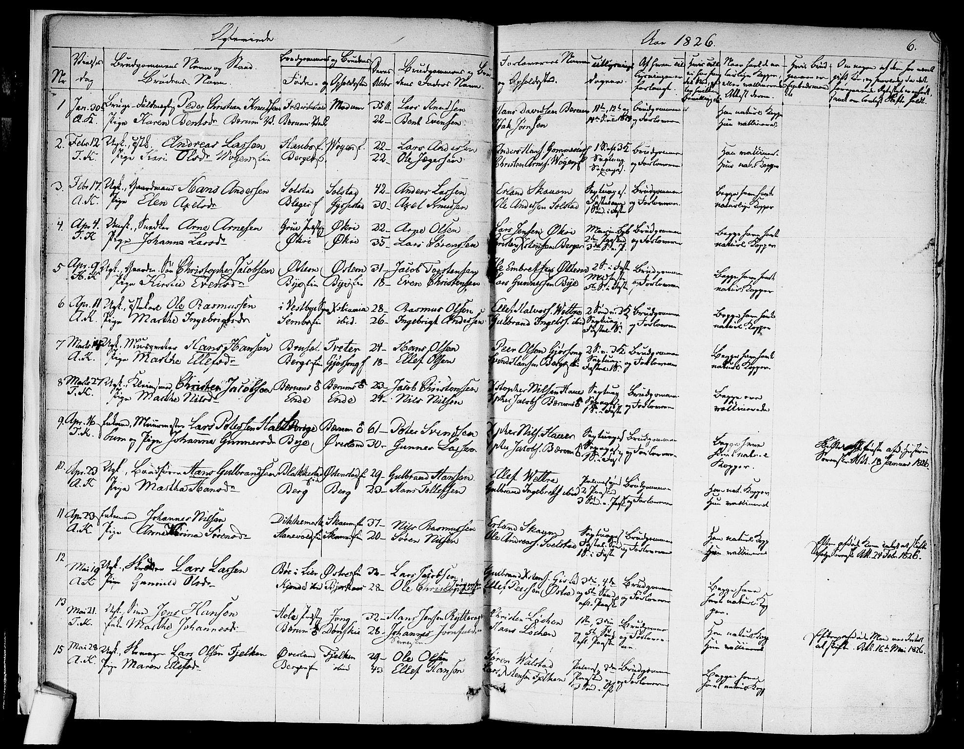 SAO, Asker prestekontor Kirkebøker, F/Fa/L0010: Ministerialbok nr. I 10, 1825-1878, s. 6