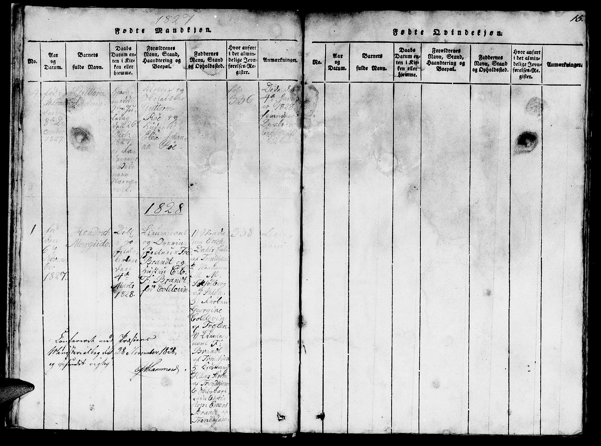 SAT, Ministerialprotokoller, klokkerbøker og fødselsregistre - Sør-Trøndelag, 623/L0478: Klokkerbok nr. 623C01, 1815-1873, s. 15